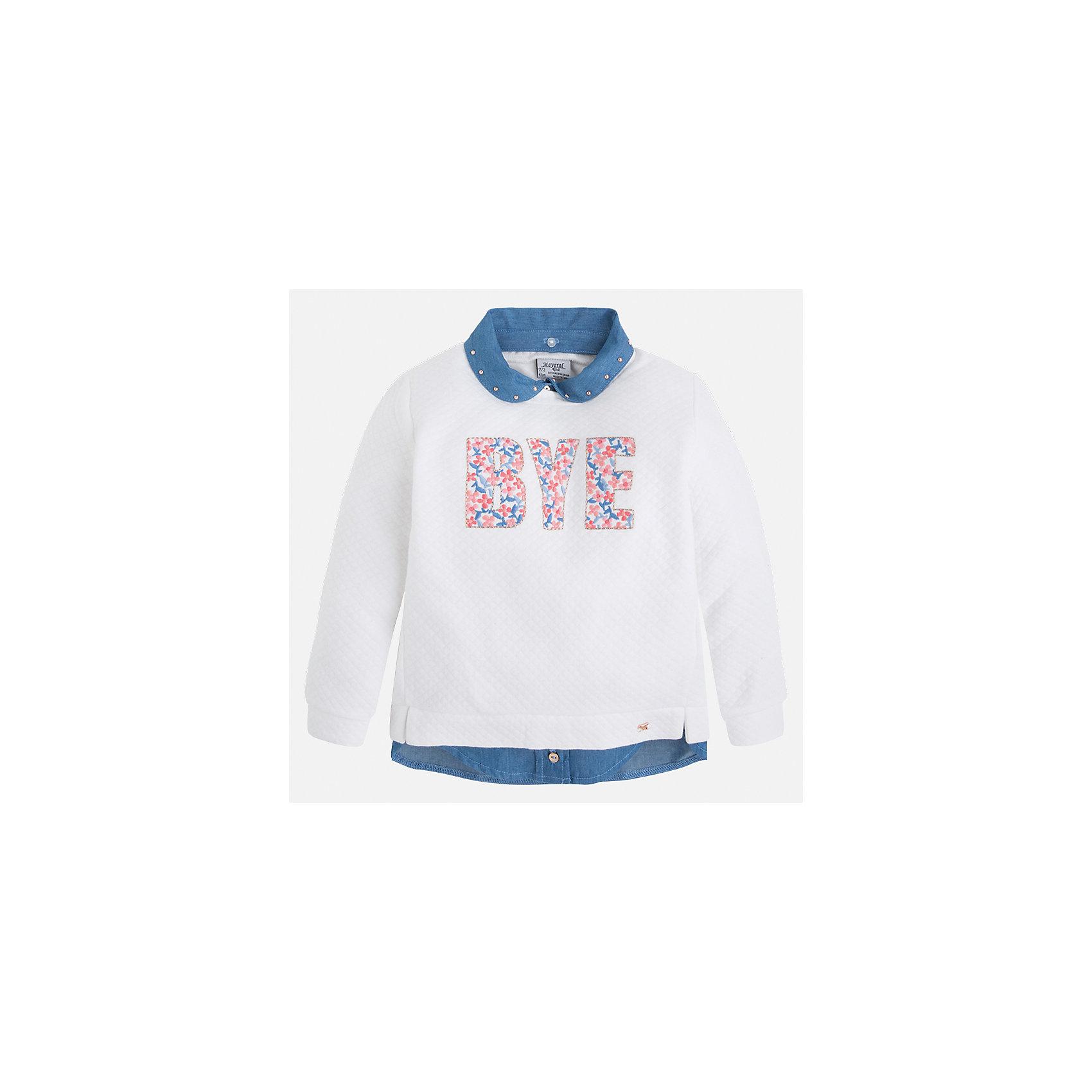 Толстовка для девочки MayoralТолстовки<br>Характеристики товара:<br><br>• цвет: белый<br>• состав: 85% хлопок, 15% полиэстер<br>• комбинированный материал<br>• ворот декорирован стразами<br>• с длинными рукавами <br>• имитация двухслойности<br>• страна бренда: Испания<br><br>Удобный и красивый свитер для девочки поможет разнообразить гардероб ребенка и украсить наряд. Он отлично сочетается и с юбками, и с брюками. Универсальный цвет позволяет подобрать к вещи низ различных расцветок. Интересная отделка модели делает её нарядной и оригинальной. В составе материала - натуральный хлопок, гипоаллергенный, приятный на ощупь, дышащий.<br><br>Одежда, обувь и аксессуары от испанского бренда Mayoral полюбились детям и взрослым по всему миру. Модели этой марки - стильные и удобные. Для их производства используются только безопасные, качественные материалы и фурнитура. Порадуйте ребенка модными и красивыми вещами от Mayoral! <br><br>Свитер для девочки от испанского бренда Mayoral (Майорал) можно купить в нашем интернет-магазине.<br><br>Ширина мм: 190<br>Глубина мм: 74<br>Высота мм: 229<br>Вес г: 236<br>Цвет: бежевый<br>Возраст от месяцев: 24<br>Возраст до месяцев: 36<br>Пол: Женский<br>Возраст: Детский<br>Размер: 98,104,110,116,122,128,134,92<br>SKU: 5290011