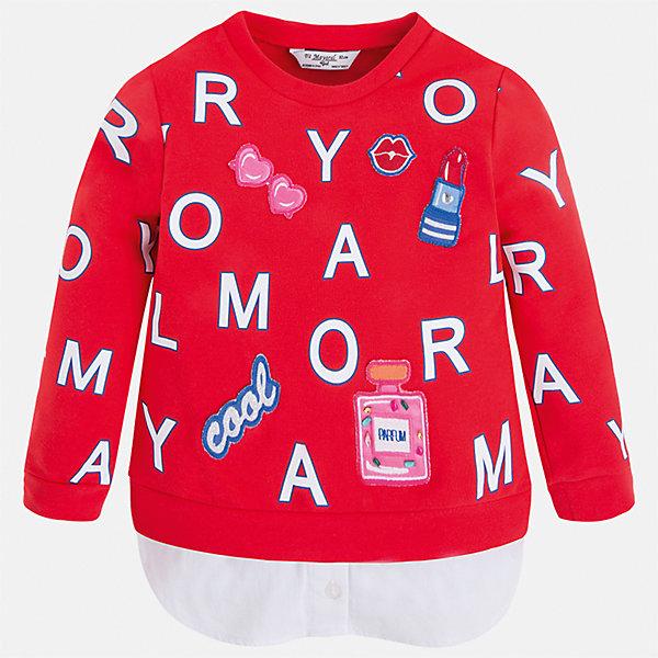 Толстовка для девочки MayoralТолстовки<br>Характеристики товара:<br><br>• цвет: красный<br>• состав: 95% хлопок, 5% эластан<br>• украшен принтом<br>• ворот - округлый<br>• с длинными рукавами <br>• манжеты<br>• страна бренда: Испания<br><br>Удобный и красивый свитер для девочки поможет разнообразить гардероб ребенка и украсить наряд. Он отлично сочетается и с юбками, и с брюками. Яркий цвет позволяет подобрать к вещи низ различных расцветок. Интересная отделка модели делает её нарядной и оригинальной. <br><br>Одежда, обувь и аксессуары от испанского бренда Mayoral полюбились детям и взрослым по всему миру. Модели этой марки - стильные и удобные. Для их производства используются только безопасные, качественные материалы и фурнитура. Порадуйте ребенка модными и красивыми вещами от Mayoral! <br><br>Свитер для девочки от испанского бренда Mayoral (Майорал) можно купить в нашем интернет-магазине.<br><br>Ширина мм: 190<br>Глубина мм: 74<br>Высота мм: 229<br>Вес г: 236<br>Цвет: красный<br>Возраст от месяцев: 18<br>Возраст до месяцев: 24<br>Пол: Женский<br>Возраст: Детский<br>Размер: 92,134,128,122,116,110,104,98<br>SKU: 5290020