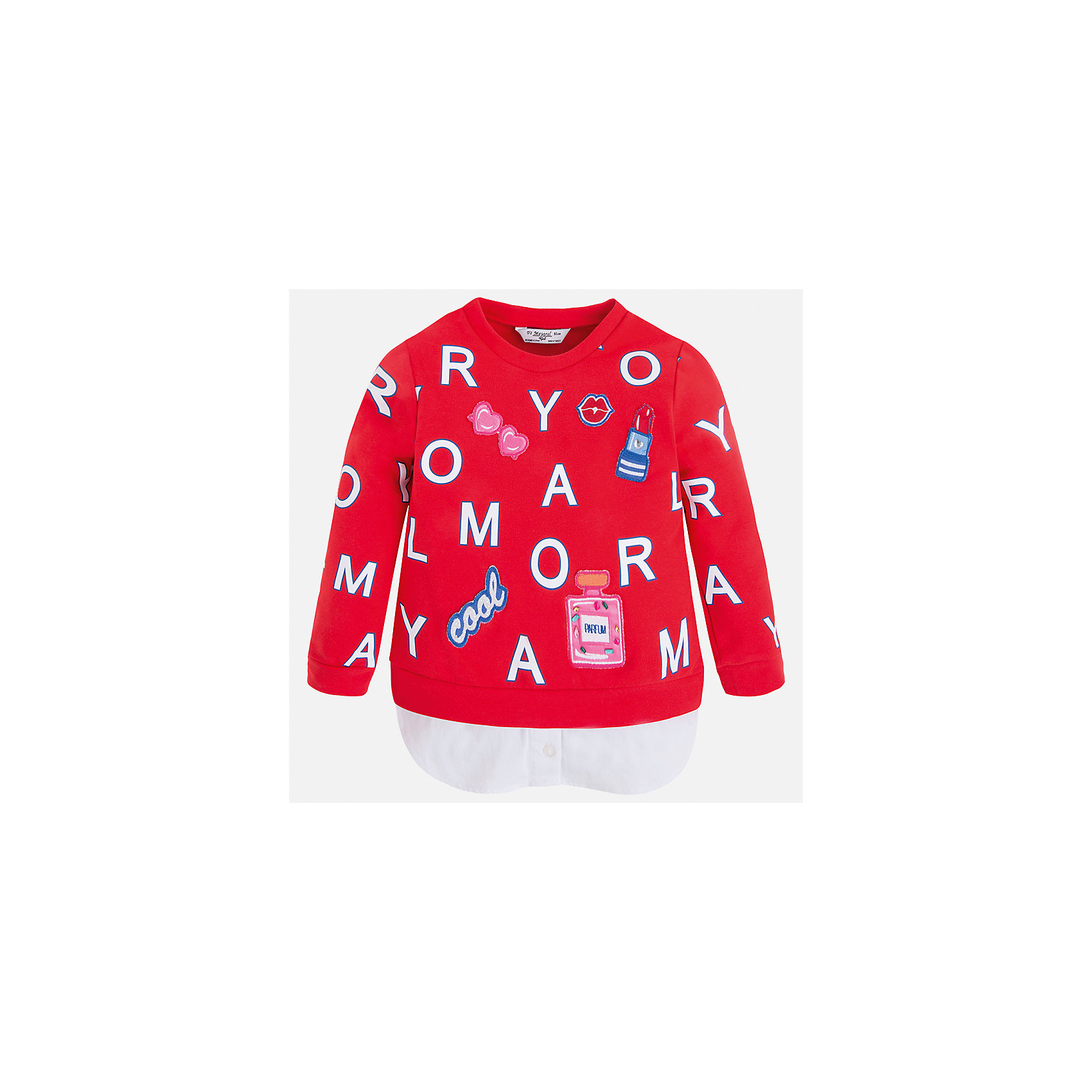 Толстовка для девочки MayoralТолстовки<br>Характеристики товара:<br><br>• цвет: красный<br>• состав: 95% хлопок, 5% эластан<br>• украшен принтом<br>• ворот - округлый<br>• с длинными рукавами <br>• манжеты<br>• страна бренда: Испания<br><br>Удобный и красивый свитер для девочки поможет разнообразить гардероб ребенка и украсить наряд. Он отлично сочетается и с юбками, и с брюками. Яркий цвет позволяет подобрать к вещи низ различных расцветок. Интересная отделка модели делает её нарядной и оригинальной. <br><br>Одежда, обувь и аксессуары от испанского бренда Mayoral полюбились детям и взрослым по всему миру. Модели этой марки - стильные и удобные. Для их производства используются только безопасные, качественные материалы и фурнитура. Порадуйте ребенка модными и красивыми вещами от Mayoral! <br><br>Свитер для девочки от испанского бренда Mayoral (Майорал) можно купить в нашем интернет-магазине.<br><br>Ширина мм: 190<br>Глубина мм: 74<br>Высота мм: 229<br>Вес г: 236<br>Цвет: красный<br>Возраст от месяцев: 96<br>Возраст до месяцев: 108<br>Пол: Женский<br>Возраст: Детский<br>Размер: 134,92,98,104,110,116,122,128<br>SKU: 5290020
