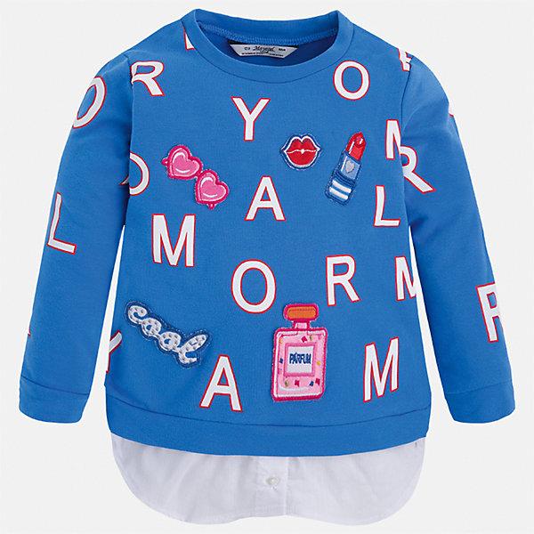 Толстовка для девочки MayoralТолстовки<br>Характеристики товара:<br><br>• цвет: синий<br>• состав: 95% хлопок, 5% эластан<br>• украшен принтом<br>• ворот - округлый<br>• с длинными рукавами <br>• манжеты<br>• страна бренда: Испания<br><br>Удобный и красивый свитер для девочки поможет разнообразить гардероб ребенка и украсить наряд. Он отлично сочетается и с юбками, и с брюками. Яркий цвет позволяет подобрать к вещи низ различных расцветок. Интересная отделка модели делает её нарядной и оригинальной. <br><br>Одежда, обувь и аксессуары от испанского бренда Mayoral полюбились детям и взрослым по всему миру. Модели этой марки - стильные и удобные. Для их производства используются только безопасные, качественные материалы и фурнитура. Порадуйте ребенка модными и красивыми вещами от Mayoral! <br><br>Свитер для девочки от испанского бренда Mayoral (Майорал) можно купить в нашем интернет-магазине.<br><br>Ширина мм: 190<br>Глубина мм: 74<br>Высота мм: 229<br>Вес г: 236<br>Цвет: синий<br>Возраст от месяцев: 96<br>Возраст до месяцев: 108<br>Пол: Женский<br>Возраст: Детский<br>Размер: 134,122,116,110,104,98,92,128<br>SKU: 5290029