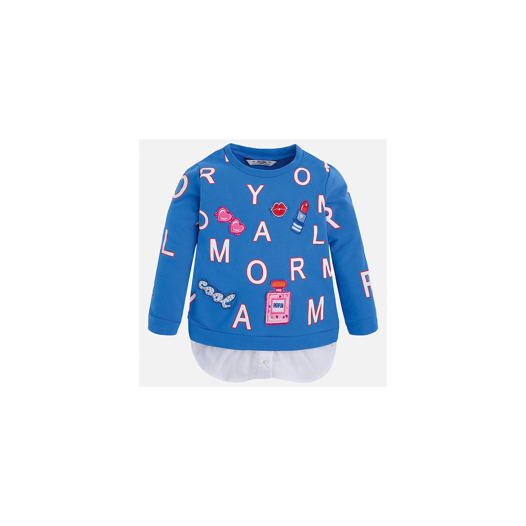 Толстовка для девочки MayoralТолстовки<br>Характеристики товара:<br><br>• цвет: синий<br>• состав: 95% хлопок, 5% эластан<br>• украшен принтом<br>• ворот - округлый<br>• с длинными рукавами <br>• манжеты<br>• страна бренда: Испания<br><br>Удобный и красивый свитер для девочки поможет разнообразить гардероб ребенка и украсить наряд. Он отлично сочетается и с юбками, и с брюками. Яркий цвет позволяет подобрать к вещи низ различных расцветок. Интересная отделка модели делает её нарядной и оригинальной. <br><br>Одежда, обувь и аксессуары от испанского бренда Mayoral полюбились детям и взрослым по всему миру. Модели этой марки - стильные и удобные. Для их производства используются только безопасные, качественные материалы и фурнитура. Порадуйте ребенка модными и красивыми вещами от Mayoral! <br><br>Свитер для девочки от испанского бренда Mayoral (Майорал) можно купить в нашем интернет-магазине.<br><br>Ширина мм: 190<br>Глубина мм: 74<br>Высота мм: 229<br>Вес г: 236<br>Цвет: синий<br>Возраст от месяцев: 72<br>Возраст до месяцев: 84<br>Пол: Женский<br>Возраст: Детский<br>Размер: 122,116,110,104,98,92,134,128<br>SKU: 5290029