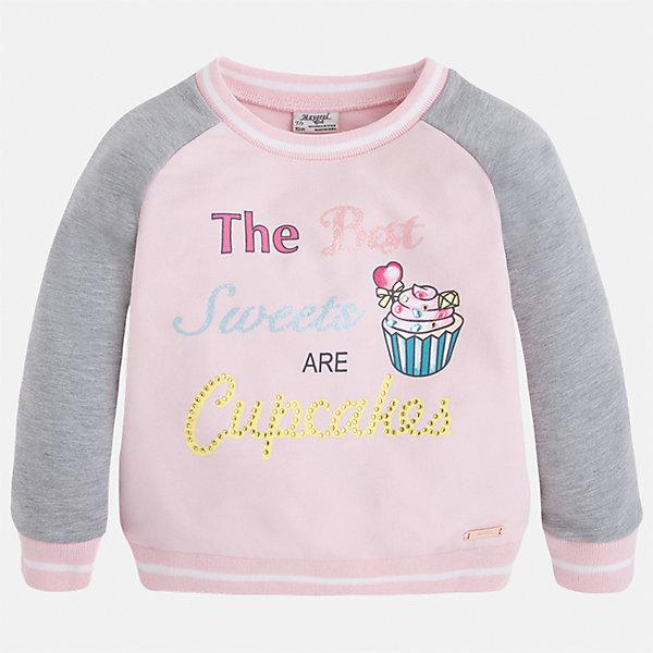 Толстовка для девочки MayoralТолстовки<br>Характеристики товара:<br><br>• цвет: розовый/серый<br>• состав: 58% хлопок, 39% полиэстер, 3% эластан<br>• украшен принтом<br>• ворот - округлый<br>• с длинными рукавами <br>• материал комбинированного цвета<br>• манжеты<br>• страна бренда: Испания<br><br>Удобный и красивый свитер для девочки поможет разнообразить гардероб ребенка и украсить наряд. Он отлично сочетается и с юбками, и с брюками. Яркий цвет позволяет подобрать к вещи низ различных расцветок. Интересная отделка модели делает её нарядной и оригинальной. <br><br>Одежда, обувь и аксессуары от испанского бренда Mayoral полюбились детям и взрослым по всему миру. Модели этой марки - стильные и удобные. Для их производства используются только безопасные, качественные материалы и фурнитура. Порадуйте ребенка модными и красивыми вещами от Mayoral! <br><br>Свитер для девочки от испанского бренда Mayoral (Майорал) можно купить в нашем интернет-магазине.<br><br>Ширина мм: 190<br>Глубина мм: 74<br>Высота мм: 229<br>Вес г: 236<br>Цвет: розовый<br>Возраст от месяцев: 18<br>Возраст до месяцев: 24<br>Пол: Женский<br>Возраст: Детский<br>Размер: 92,134,128,122,116,110,104,98<br>SKU: 5290038