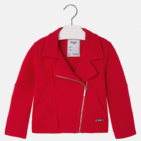 Пиджак для девочки MayoralКостюмы и пиджаки<br>Характеристики товара:<br><br>• цвет: красный<br>• состав: 82% полиэстер, 17% вискоза, 1% эластан<br>• косая молния<br>• карманы<br>• с длинными рукавами <br>• фактурная ткань<br>• страна бренда: Испания<br><br>Стильный пиджак для девочки поможет разнообразить гардероб ребенка и украсить наряд. Он отлично сочетается и с юбками, и с брюками. Яркий цвет позволяет подобрать к вещи низ различных расцветок. Интересная отделка модели делает её нарядной и оригинальной.<br><br>Одежда, обувь и аксессуары от испанского бренда Mayoral полюбились детям и взрослым по всему миру. Модели этой марки - стильные и удобные. Для их производства используются только безопасные, качественные материалы и фурнитура. Порадуйте ребенка модными и красивыми вещами от Mayoral! <br><br>Пиджак для девочки от испанского бренда Mayoral (Майорал) можно купить в нашем интернет-магазине.<br><br>Ширина мм: 247<br>Глубина мм: 16<br>Высота мм: 140<br>Вес г: 225<br>Цвет: красный<br>Возраст от месяцев: 24<br>Возраст до месяцев: 36<br>Пол: Женский<br>Возраст: Детский<br>Размер: 98,134,128,122,116,110,104<br>SKU: 5290065