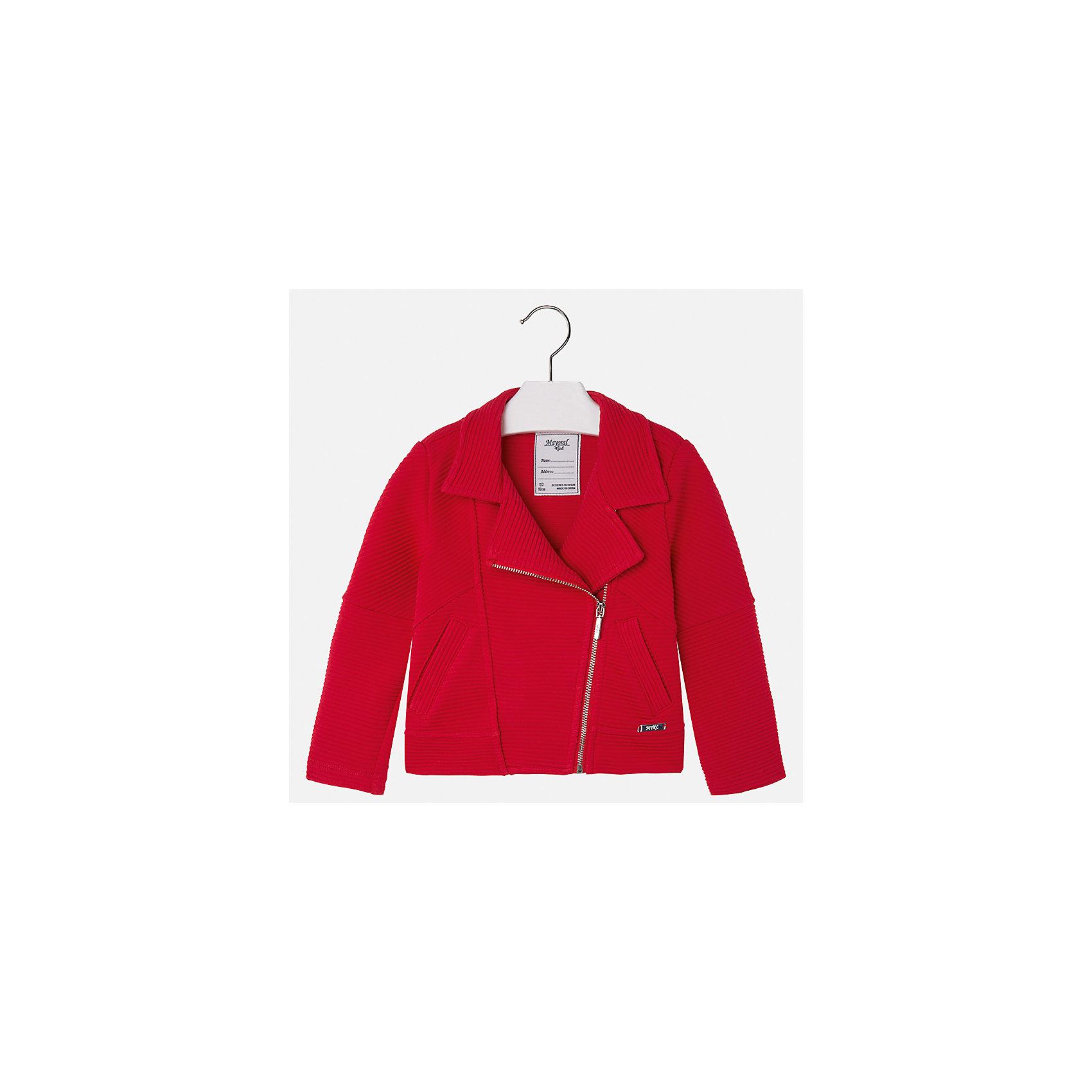 Пиджак для девочки MayoralКостюмы и пиджаки<br>Характеристики товара:<br><br>• цвет: красный<br>• состав: 82% полиэстер, 17% вискоза, 1% эластан<br>• косая молния<br>• карманы<br>• с длинными рукавами <br>• фактурная ткань<br>• страна бренда: Испания<br><br>Стильный пиджак для девочки поможет разнообразить гардероб ребенка и украсить наряд. Он отлично сочетается и с юбками, и с брюками. Яркий цвет позволяет подобрать к вещи низ различных расцветок. Интересная отделка модели делает её нарядной и оригинальной.<br><br>Одежда, обувь и аксессуары от испанского бренда Mayoral полюбились детям и взрослым по всему миру. Модели этой марки - стильные и удобные. Для их производства используются только безопасные, качественные материалы и фурнитура. Порадуйте ребенка модными и красивыми вещами от Mayoral! <br><br>Пиджак для девочки от испанского бренда Mayoral (Майорал) можно купить в нашем интернет-магазине.<br><br>Ширина мм: 247<br>Глубина мм: 16<br>Высота мм: 140<br>Вес г: 225<br>Цвет: красный<br>Возраст от месяцев: 96<br>Возраст до месяцев: 108<br>Пол: Женский<br>Возраст: Детский<br>Размер: 134,98,104,110,116,122,128<br>SKU: 5290065