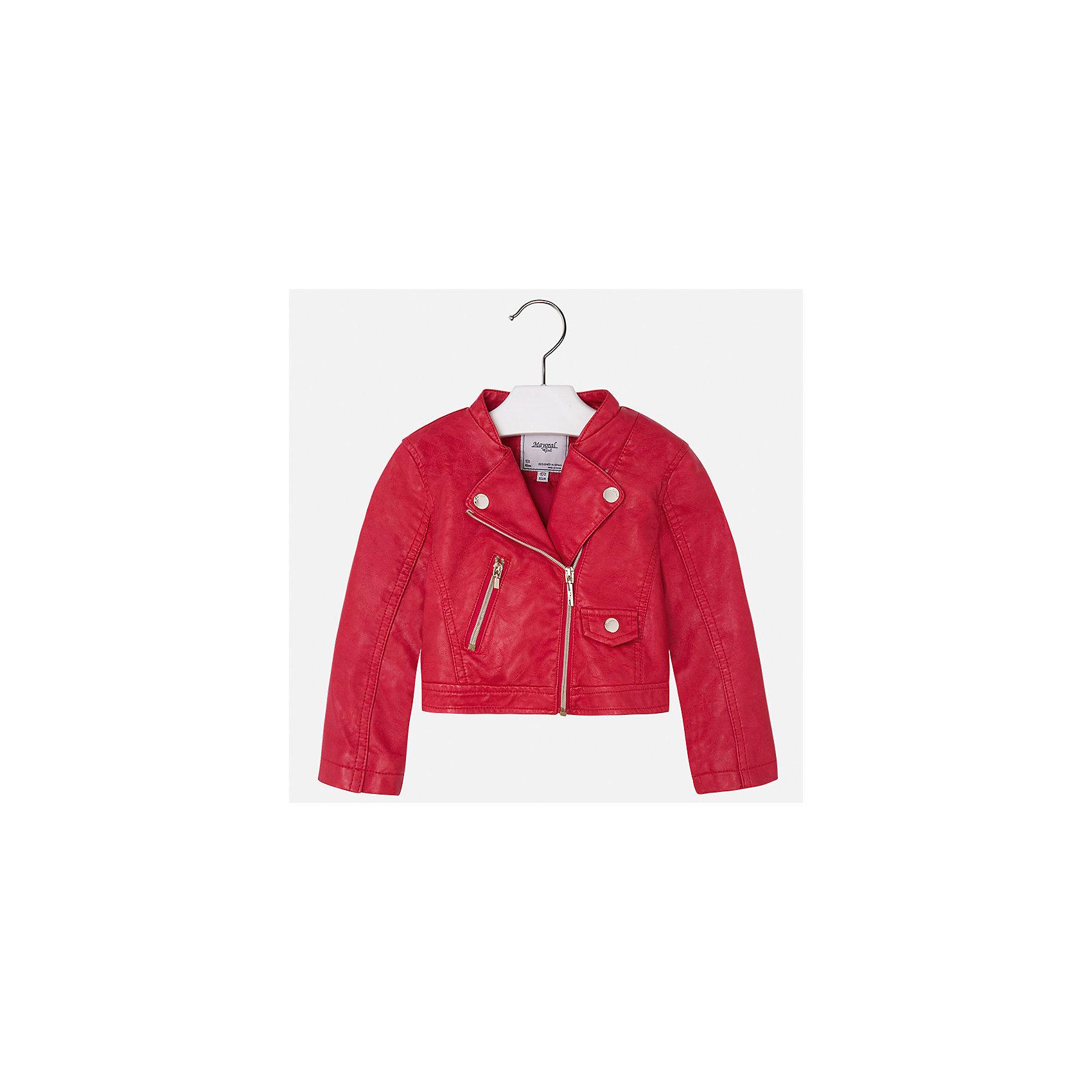 Куртка для девочки MayoralВерхняя одежда<br>Характеристики товара:<br><br>• цвет: красный<br>• состав: 100% полиэстер, верх - 100% полиэстер<br>• косая молния<br>• карманы<br>• с длинными рукавами <br>• плотная ткань<br>• страна бренда: Испания<br><br>Стильная куртка для девочки поможет разнообразить гардероб ребенка и обеспечить тепло в прохладную погоду. Она отлично сочетается и с юбками, и с брюками. Красивый цвет позволяет подобрать к вещи низ различных расцветок. Интересная отделка модели делает её нарядной и стильной. Оригинальной и модной куртку делает косая молния.<br><br>Одежда, обувь и аксессуары от испанского бренда Mayoral полюбились детям и взрослым по всему миру. Модели этой марки - стильные и удобные. Для их производства используются только безопасные, качественные материалы и фурнитура. Порадуйте ребенка модными и красивыми вещами от Mayoral! <br><br>Куртку для девочки от испанского бренда Mayoral (Майорал) можно купить в нашем интернет-магазине.<br><br>Ширина мм: 356<br>Глубина мм: 10<br>Высота мм: 245<br>Вес г: 519<br>Цвет: красный<br>Возраст от месяцев: 18<br>Возраст до месяцев: 24<br>Пол: Женский<br>Возраст: Детский<br>Размер: 92,134,98,104,110,116,122,128<br>SKU: 5290073