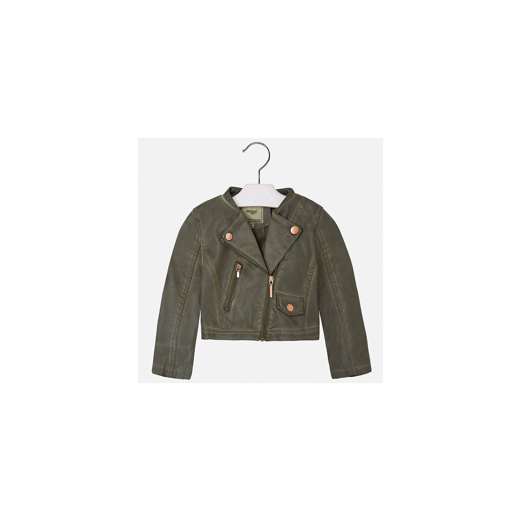 Куртка для девочки MayoralВерхняя одежда<br>Характеристики товара:<br><br>• цвет: хаки<br>• состав: 100% полиэстер, верх - 100% полиэстер<br>• температурный режим от +15°до +10°С<br>• косая молния<br>• карманы<br>• с длинными рукавами <br>• плотная ткань<br>• страна бренда: Испания<br><br>Стильная куртка для девочки поможет разнообразить гардероб ребенка и обеспечить тепло в прохладную погоду. Она отлично сочетается и с юбками, и с брюками. Красивый цвет позволяет подобрать к вещи низ различных расцветок. Интересная отделка модели делает её нарядной и стильной. Оригинальной и модной куртку делает косая молния.<br><br>Одежда, обувь и аксессуары от испанского бренда Mayoral полюбились детям и взрослым по всему миру. Модели этой марки - стильные и удобные. Для их производства используются только безопасные, качественные материалы и фурнитура. Порадуйте ребенка модными и красивыми вещами от Mayoral! <br><br>Куртку для девочки от испанского бренда Mayoral (Майорал) можно купить в нашем интернет-магазине.<br><br>Ширина мм: 356<br>Глубина мм: 10<br>Высота мм: 245<br>Вес г: 519<br>Цвет: коричневый<br>Возраст от месяцев: 96<br>Возраст до месяцев: 108<br>Пол: Женский<br>Возраст: Детский<br>Размер: 134,92,98,104,110,116,122,128<br>SKU: 5290082