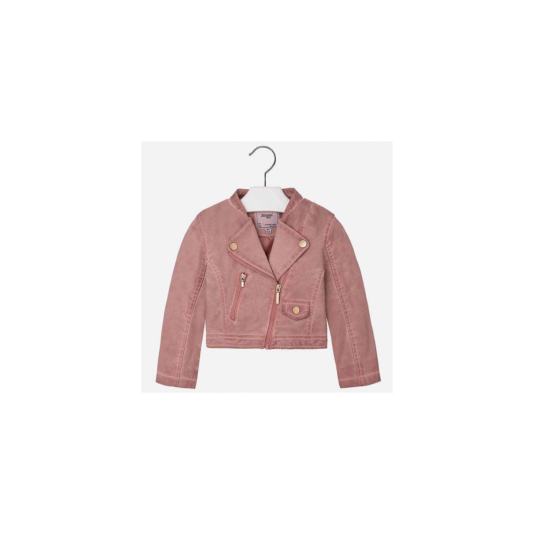 Куртка для девочки MayoralВерхняя одежда<br>Характеристики товара:<br><br>• цвет: розовый<br>• состав: 100% полиэстер, верх - 100% полиэстер<br>• косая молния<br>• карманы<br>• с длинными рукавами <br>• плотная ткань<br>• страна бренда: Испания<br><br>Стильная куртка для девочки поможет разнообразить гардероб ребенка и обеспечить тепло в прохладную погоду. Она отлично сочетается и с юбками, и с брюками. Красивый цвет позволяет подобрать к вещи низ различных расцветок. Интересная отделка модели делает её нарядной и стильной. Оригинальной и модной куртку делает косая молния.<br><br>Одежда, обувь и аксессуары от испанского бренда Mayoral полюбились детям и взрослым по всему миру. Модели этой марки - стильные и удобные. Для их производства используются только безопасные, качественные материалы и фурнитура. Порадуйте ребенка модными и красивыми вещами от Mayoral! <br><br>Куртку для девочки от испанского бренда Mayoral (Майорал) можно купить в нашем интернет-магазине.<br><br>Ширина мм: 356<br>Глубина мм: 10<br>Высота мм: 245<br>Вес г: 519<br>Цвет: розовый<br>Возраст от месяцев: 18<br>Возраст до месяцев: 24<br>Пол: Женский<br>Возраст: Детский<br>Размер: 92,134,128,122,116,110,104,98<br>SKU: 5290091