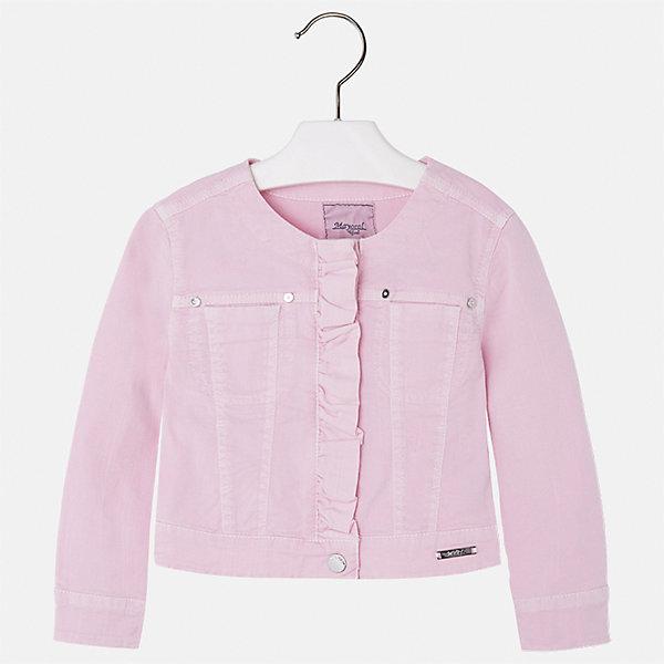 Куртка для девочки MayoralВерхняя одежда<br>Характеристики товара:<br><br>• цвет: розовый<br>• состав: 98% хлопок, 2% эластан<br>• планка<br>• карманы<br>• с длинными рукавами <br>• украшена оборкой<br>• страна бренда: Испания<br><br>Стильная куртка для девочки поможет разнообразить гардероб ребенка и обеспечить тепло в прохладную погоду. Она отлично сочетается и с юбками, и с брюками. Красивый цвет позволяет подобрать к вещи низ различных расцветок. Интересная отделка модели делает её нарядной и стильной. Оригинальной и модной куртку делает оборка на планке.<br><br>Одежда, обувь и аксессуары от испанского бренда Mayoral полюбились детям и взрослым по всему миру. Модели этой марки - стильные и удобные. Для их производства используются только безопасные, качественные материалы и фурнитура. Порадуйте ребенка модными и красивыми вещами от Mayoral! <br><br>Куртку для девочки от испанского бренда Mayoral (Майорал) можно купить в нашем интернет-магазине.<br><br>Ширина мм: 356<br>Глубина мм: 10<br>Высота мм: 245<br>Вес г: 519<br>Цвет: розовый<br>Возраст от месяцев: 18<br>Возраст до месяцев: 24<br>Пол: Женский<br>Возраст: Детский<br>Размер: 92,134,98,104,110,116,122,128<br>SKU: 5290100