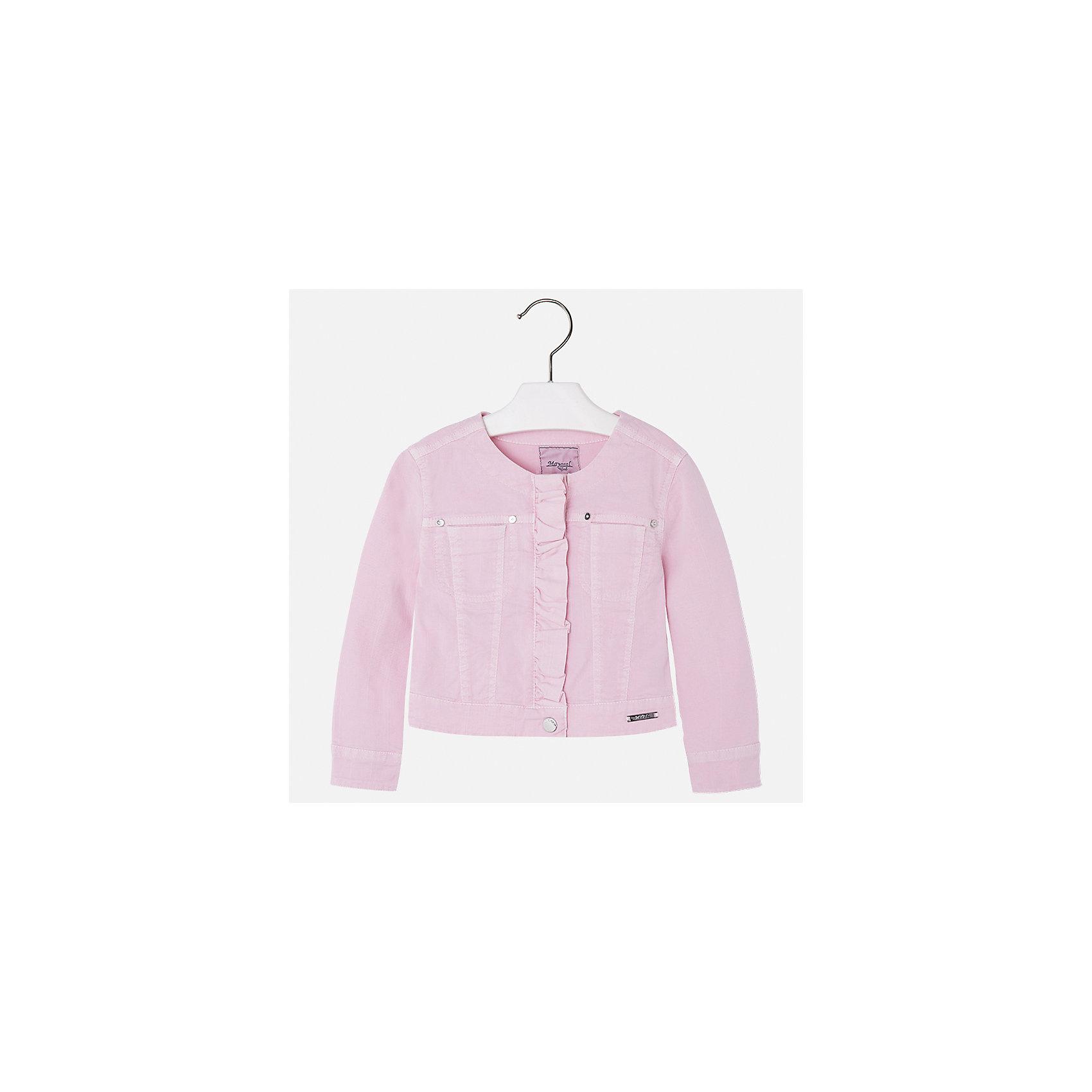 Куртка для девочки MayoralХарактеристики товара:<br><br>• цвет: розовый<br>• состав: 98% хлопок, 2% эластан<br>• планка<br>• карманы<br>• с длинными рукавами <br>• украшена оборкой<br>• страна бренда: Испания<br><br>Стильная куртка для девочки поможет разнообразить гардероб ребенка и обеспечить тепло в прохладную погоду. Она отлично сочетается и с юбками, и с брюками. Красивый цвет позволяет подобрать к вещи низ различных расцветок. Интересная отделка модели делает её нарядной и стильной. Оригинальной и модной куртку делает оборка на планке.<br><br>Одежда, обувь и аксессуары от испанского бренда Mayoral полюбились детям и взрослым по всему миру. Модели этой марки - стильные и удобные. Для их производства используются только безопасные, качественные материалы и фурнитура. Порадуйте ребенка модными и красивыми вещами от Mayoral! <br><br>Куртку для девочки от испанского бренда Mayoral (Майорал) можно купить в нашем интернет-магазине.<br><br>Ширина мм: 356<br>Глубина мм: 10<br>Высота мм: 245<br>Вес г: 519<br>Цвет: розовый<br>Возраст от месяцев: 48<br>Возраст до месяцев: 60<br>Пол: Женский<br>Возраст: Детский<br>Размер: 110,116,122,128,134,92,98,104<br>SKU: 5290100