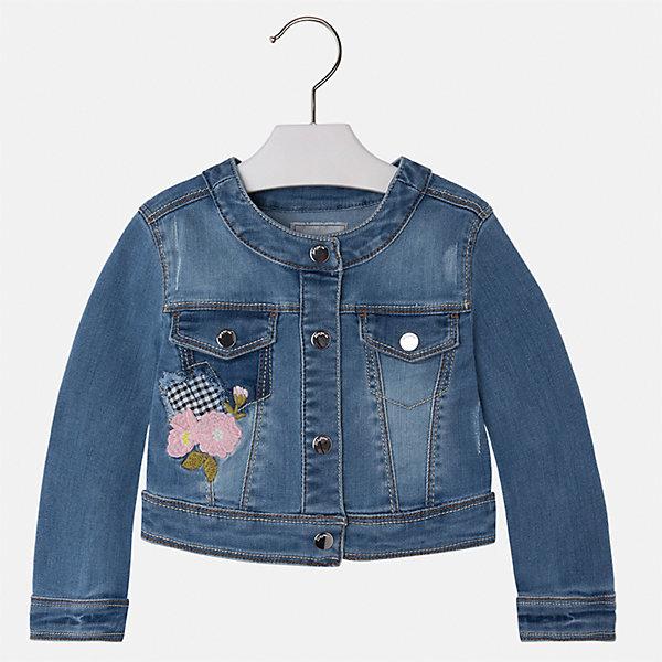Куртка джинсовая для девочки MayoralДжинсовая одежда<br>Характеристики товара:<br><br>• цвет: синий<br>• состав: 81% полиэстер, 17% вискоза, 2% эластан<br>• вышивка<br>• карманы<br>• с длинными рукавами <br>• застежки: кнопки<br>• страна бренда: Испания<br><br>Удобная и модная куртка для девочки поможет разнообразить гардероб ребенка и обеспечить тепло в прохладную погоду. Она отлично сочетается и с юбками, и с брюками. Красивый цвет позволяет подобрать к вещи низ различных расцветок. Интересная отделка модели делает её нарядной и стильной. Оригинальной и модной куртку делает красивая вышивка.<br><br>Одежда, обувь и аксессуары от испанского бренда Mayoral полюбились детям и взрослым по всему миру. Модели этой марки - стильные и удобные. Для их производства используются только безопасные, качественные материалы и фурнитура. Порадуйте ребенка модными и красивыми вещами от Mayoral! <br><br>Куртку для девочки от испанского бренда Mayoral (Майорал) можно купить в нашем интернет-магазине.<br><br>Ширина мм: 356<br>Глубина мм: 10<br>Высота мм: 245<br>Вес г: 519<br>Цвет: синий<br>Возраст от месяцев: 18<br>Возраст до месяцев: 24<br>Пол: Женский<br>Возраст: Детский<br>Размер: 92,134,128,122,116,110,104,98<br>SKU: 5290109