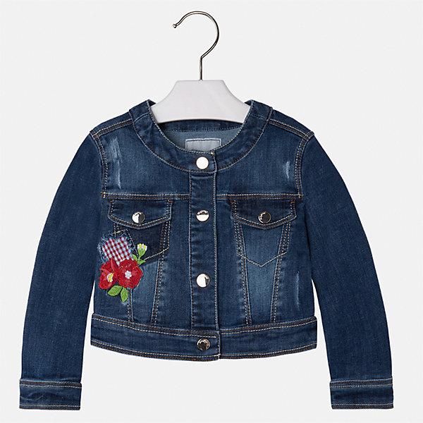 Куртка джинсовая для девочки MayoralДжинсовая одежда<br>Характеристики товара:<br><br>• цвет: синий<br>• состав: 81% полиэстер, 17% вискоза, 2% эластан<br>• температурный режим: от +20°до +10°С<br>• вышивка<br>• карманы<br>• с длинными рукавами <br>• застежки: кнопки<br>• страна бренда: Испания<br><br>Удобная и модная куртка для девочки поможет разнообразить гардероб ребенка и обеспечить тепло в прохладную погоду. Она отлично сочетается и с юбками, и с брюками. Красивый цвет позволяет подобрать к вещи низ различных расцветок. Интересная отделка модели делает её нарядной и стильной. Оригинальной и модной куртку делает красивая вышивка.<br><br>Одежда, обувь и аксессуары от испанского бренда Mayoral полюбились детям и взрослым по всему миру. Модели этой марки - стильные и удобные. Для их производства используются только безопасные, качественные материалы и фурнитура. Порадуйте ребенка модными и красивыми вещами от Mayoral! <br><br>Куртку для девочки от испанского бренда Mayoral (Майорал) можно купить в нашем интернет-магазине.<br><br>Ширина мм: 356<br>Глубина мм: 10<br>Высота мм: 245<br>Вес г: 519<br>Цвет: белый<br>Возраст от месяцев: 18<br>Возраст до месяцев: 24<br>Пол: Женский<br>Возраст: Детский<br>Размер: 134,98,104,110,116,122,128,92<br>SKU: 5290118