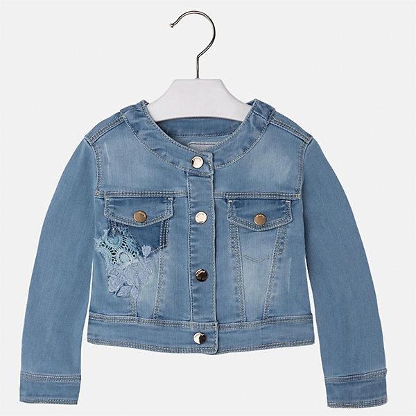 Куртка джинсовая для девочки MayoralДжинсовая одежда<br>Характеристики товара:<br><br>• цвет: голубой<br>• состав: 81% полиэстер, 17% вискоза, 2% эластан<br>• температурный режим: от +20°до +10°С<br>• вышивка<br>• карманы<br>• с длинными рукавами <br>• застежки: кнопки<br>• страна бренда: Испания<br><br>Удобная и модная куртка для девочки поможет разнообразить гардероб ребенка и обеспечить тепло в прохладную погоду. Она отлично сочетается и с юбками, и с брюками. Красивый цвет позволяет подобрать к вещи низ различных расцветок. Интересная отделка модели делает её нарядной и стильной. Оригинальной и модной куртку делает красивая вышивка.<br><br>Одежда, обувь и аксессуары от испанского бренда Mayoral полюбились детям и взрослым по всему миру. Модели этой марки - стильные и удобные. Для их производства используются только безопасные, качественные материалы и фурнитура. Порадуйте ребенка модными и красивыми вещами от Mayoral! <br><br>Куртку для девочки от испанского бренда Mayoral (Майорал) можно купить в нашем интернет-магазине.<br><br>Ширина мм: 356<br>Глубина мм: 10<br>Высота мм: 245<br>Вес г: 519<br>Цвет: синий<br>Возраст от месяцев: 18<br>Возраст до месяцев: 24<br>Пол: Женский<br>Возраст: Детский<br>Размер: 92,134,128,122,116,110,104,98<br>SKU: 5290127