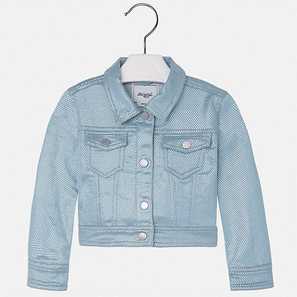 Куртка для девочки MayoralВерхняя одежда<br>Характеристики товара:<br><br>• цвет: голубой<br>• состав: 71% хлопок, 28% полиэстер, 1% эластан<br>• застежка: пуговицы<br>• карманы<br>• с длинными рукавами <br>• отложной воротник<br>• контрастная прострочка<br>• страна бренда: Испания<br><br>Модная удобная куртка для девочки поможет разнообразить гардероб ребенка. Она отлично сочетается и с юбками, и с брюками. Отличный способ придать наряду оригинальность!<br><br>Куртку для девочки от испанского бренда Mayoral (Майорал) можно купить в нашем интернет-магазине.<br>Ширина мм: 356; Глубина мм: 10; Высота мм: 245; Вес г: 519; Цвет: голубой; Возраст от месяцев: 84; Возраст до месяцев: 96; Пол: Женский; Возраст: Детский; Размер: 128,122,104,98,92,116,110,134; SKU: 5290136;