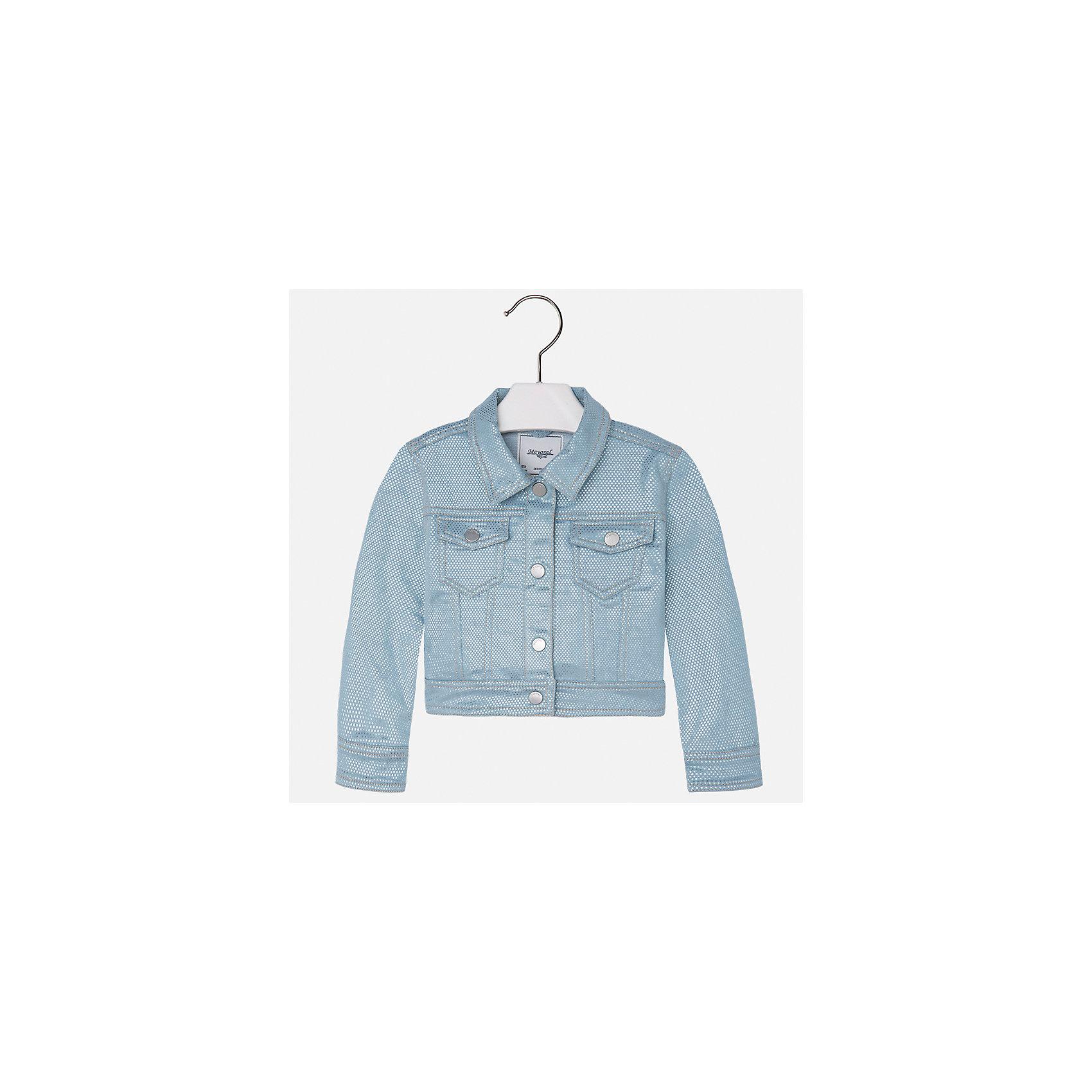 Куртка для девочки MayoralДжинсовая одежда<br>Характеристики товара:<br><br>• цвет: голубой<br>• состав: 71% хлопок, 28% полиэстер, 1% эластан<br>• застежка: пуговицы<br>• карманы<br>• с длинными рукавами <br>• отложной воротник<br>• контрастная прострочка<br>• страна бренда: Испания<br><br>Модная удобная куртка для девочки поможет разнообразить гардероб ребенка. Она отлично сочетается и с юбками, и с брюками. Отличный способ придать наряду оригинальность!<br><br>Куртку для девочки от испанского бренда Mayoral (Майорал) можно купить в нашем интернет-магазине.<br><br>Ширина мм: 356<br>Глубина мм: 10<br>Высота мм: 245<br>Вес г: 519<br>Цвет: голубой<br>Возраст от месяцев: 96<br>Возраст до месяцев: 108<br>Пол: Женский<br>Возраст: Детский<br>Размер: 134,92,98,104,110,116,122,128<br>SKU: 5290136