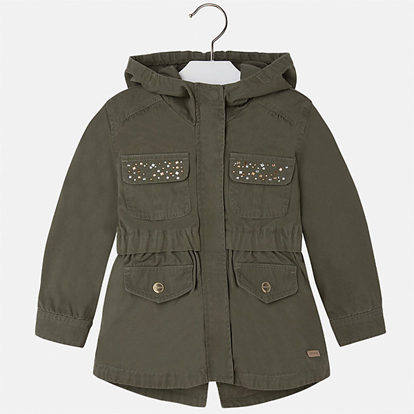 Куртка для девочки MayoralДемисезонные куртки<br>Характеристики товара:<br><br>• цвет: хаки<br>• состав: верх - 100% хлопок; подкладка - 65% полиэстер, 35% хлопок<br>• температурный режим: от +15°до +10°С<br>• молния<br>• карманы<br>• с длинными рукавами <br>• планка<br>• капюшон<br>• плотная ткань<br>• страна бренда: Испания<br><br>Стильная куртка для девочки сможет согреть ребенка в прохладную погоду и разнообразить гардероб ребенка. Куртка парка - очень модная и удобная вещь! Универсальный цвет позволяет подобрать к вещи низ различных расцветок. Стильный крой модели делает её стильной и оригинальной. <br><br>Одежда, обувь и аксессуары от испанского бренда Mayoral полюбились детям и взрослым по всему миру. Модели этой марки - стильные и удобные. Для их производства используются только безопасные, качественные материалы и фурнитура. Порадуйте ребенка модными и красивыми вещами от Mayoral! <br><br>Куртку для девочки от испанского бренда Mayoral (Майорал) можно купить в нашем интернет-магазине.<br><br>Ширина мм: 356<br>Глубина мм: 10<br>Высота мм: 245<br>Вес г: 519<br>Цвет: зеленый<br>Возраст от месяцев: 18<br>Возраст до месяцев: 24<br>Пол: Женский<br>Возраст: Детский<br>Размер: 92,134,98,104,110,116,122,128<br>SKU: 5290145