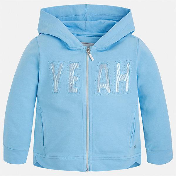 Толстовка для девочки MayoralТолстовки<br>Характеристики товара:<br><br>• цвет: голубой<br>• состав: 98% хлопок, 2% эластан<br>• застежка: молния<br>• карманы<br>• с длинными рукавами <br>• капюшон<br>• украшена вышивкой<br>• страна бренда: Испания<br><br>Стильная куртка для девочки поможет разнообразить гардероб ребенка и обеспечить тепло в прохладную погоду. Она отлично сочетается и с юбками, и с брюками. Красивый цвет позволяет подобрать к вещи низ различных расцветок. Интересная отделка модели делает её нарядной и стильной. Оригинальной и модной куртку делает вышивка.<br><br>Одежда, обувь и аксессуары от испанского бренда Mayoral полюбились детям и взрослым по всему миру. Модели этой марки - стильные и удобные. Для их производства используются только безопасные, качественные материалы и фурнитура. Порадуйте ребенка модными и красивыми вещами от Mayoral! <br><br>Куртку для девочки от испанского бренда Mayoral (Майорал) можно купить в нашем интернет-магазине.<br><br>Ширина мм: 356<br>Глубина мм: 10<br>Высота мм: 245<br>Вес г: 519<br>Цвет: синий<br>Возраст от месяцев: 96<br>Возраст до месяцев: 108<br>Пол: Женский<br>Возраст: Детский<br>Размер: 134,98,128,122,116,110,104,92<br>SKU: 5290163