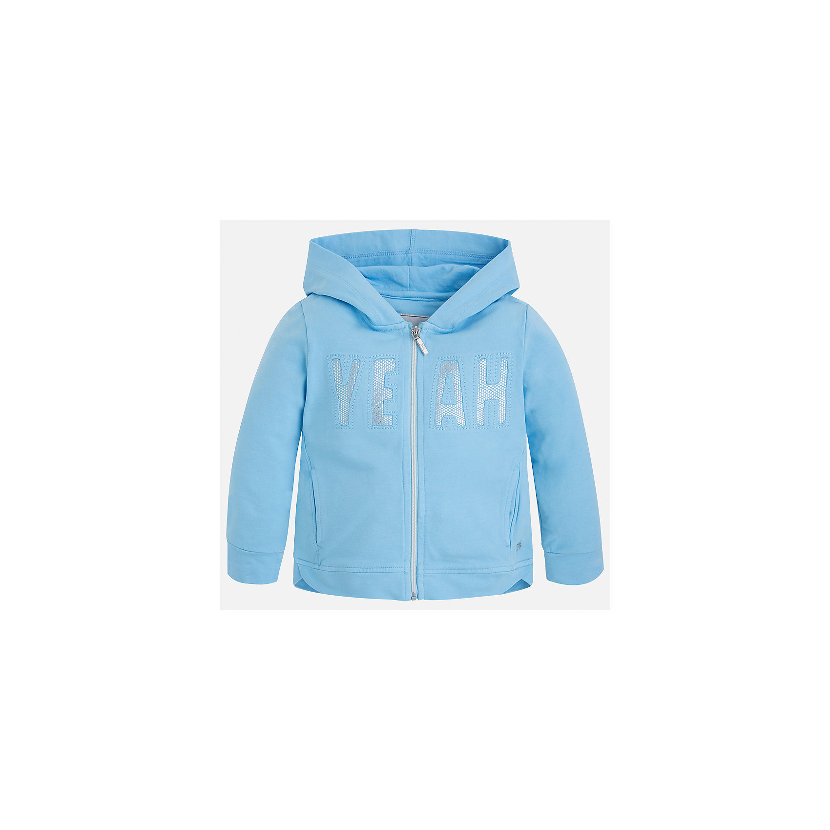 Толстовка для девочки MayoralТолстовки<br>Характеристики товара:<br><br>• цвет: голубой<br>• состав: 98% хлопок, 2% эластан<br>• застежка: молния<br>• карманы<br>• с длинными рукавами <br>• капюшон<br>• украшена вышивкой<br>• страна бренда: Испания<br><br>Стильная куртка для девочки поможет разнообразить гардероб ребенка и обеспечить тепло в прохладную погоду. Она отлично сочетается и с юбками, и с брюками. Красивый цвет позволяет подобрать к вещи низ различных расцветок. Интересная отделка модели делает её нарядной и стильной. Оригинальной и модной куртку делает вышивка.<br><br>Одежда, обувь и аксессуары от испанского бренда Mayoral полюбились детям и взрослым по всему миру. Модели этой марки - стильные и удобные. Для их производства используются только безопасные, качественные материалы и фурнитура. Порадуйте ребенка модными и красивыми вещами от Mayoral! <br><br>Куртку для девочки от испанского бренда Mayoral (Майорал) можно купить в нашем интернет-магазине.<br><br>Ширина мм: 356<br>Глубина мм: 10<br>Высота мм: 245<br>Вес г: 519<br>Цвет: синий<br>Возраст от месяцев: 36<br>Возраст до месяцев: 48<br>Пол: Женский<br>Возраст: Детский<br>Размер: 104,110,116,122,128,134,98,92<br>SKU: 5290163