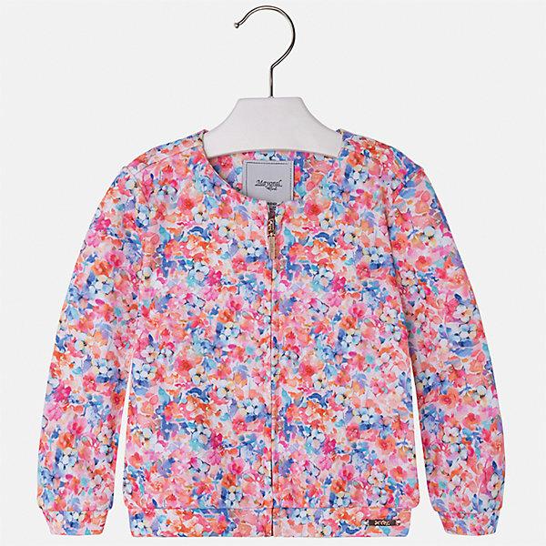Куртка для девочки MayoralВерхняя одежда<br>Характеристики товара:<br><br>• цвет: мультиколор<br>• состав: 100% полиэстер<br>• застежка: молния<br>• манжеты<br>• с длинными рукавами <br>• округлый горловой вырез<br>• украшена цветочным принтом<br>• страна бренда: Испания<br><br>Стильная куртка для девочки поможет разнообразить гардероб ребенка и обеспечить тепло в прохладную погоду. Она отлично сочетается и с юбками, и с брюками. Красивый цвет позволяет подобрать к вещи низ различных расцветок. Интересная отделка модели делает её нарядной и стильной. Оригинальной и модной куртку делает ткань с цветочным принтом.<br><br>Одежда, обувь и аксессуары от испанского бренда Mayoral полюбились детям и взрослым по всему миру. Модели этой марки - стильные и удобные. Для их производства используются только безопасные, качественные материалы и фурнитура. Порадуйте ребенка модными и красивыми вещами от Mayoral! <br><br>Куртку для девочки от испанского бренда Mayoral (Майорал) можно купить в нашем интернет-магазине.<br>Ширина мм: 356; Глубина мм: 10; Высота мм: 245; Вес г: 519; Цвет: розовый; Возраст от месяцев: 36; Возраст до месяцев: 48; Пол: Женский; Возраст: Детский; Размер: 104,98,134,128,122,116,110; SKU: 5290172;