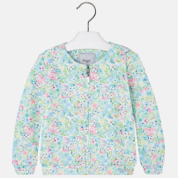 Куртка для девочки MayoralВетровки и жакеты<br>Характеристики товара:<br><br>• цвет: зеленый принт<br>• состав: 100% полиэстер<br>• температурный режим: от +15°до +10°С<br>• застежка: молния<br>• манжеты<br>• с длинными рукавами <br>• округлый горловой вырез<br>• украшена цветочным принтом<br>• страна бренда: Испания<br><br>Стильная куртка для девочки поможет разнообразить гардероб ребенка и обеспечить тепло в прохладную погоду. Она отлично сочетается и с юбками, и с брюками. Красивый цвет позволяет подобрать к вещи низ различных расцветок. Интересная отделка модели делает её нарядной и стильной. Оригинальной и модной куртку делает ткань с цветочным принтом.<br><br>Одежда, обувь и аксессуары от испанского бренда Mayoral полюбились детям и взрослым по всему миру. Модели этой марки - стильные и удобные. Для их производства используются только безопасные, качественные материалы и фурнитура. Порадуйте ребенка модными и красивыми вещами от Mayoral! <br><br>Куртку для девочки от испанского бренда Mayoral (Майорал) можно купить в нашем интернет-магазине.<br><br>Ширина мм: 356<br>Глубина мм: 10<br>Высота мм: 245<br>Вес г: 519<br>Цвет: зеленый<br>Возраст от месяцев: 84<br>Возраст до месяцев: 96<br>Пол: Женский<br>Возраст: Детский<br>Размер: 128,134,98,104,110,116,122<br>SKU: 5290180