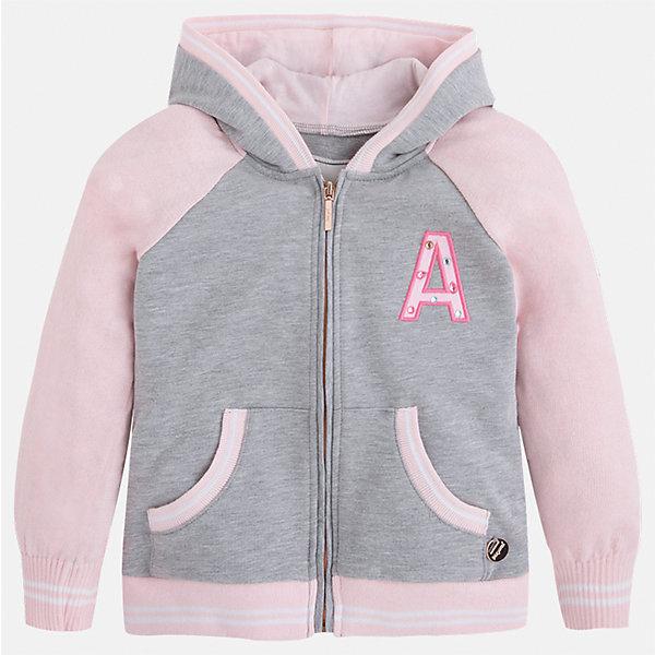 Куртка для девочки MayoralТолстовки<br>Характеристики товара:<br><br>• цвет: розовый/серый<br>• состав: 58% хлопок, 40% полиэстер, 2% эластан<br>• застежка: молния<br>• карманы<br>• с длинными рукавами <br>• капюшон<br>• украшена вышивкой<br>• страна бренда: Испания<br><br>Стильная куртка для девочки поможет разнообразить гардероб ребенка и обеспечить тепло в прохладную погоду. Она отлично сочетается и с юбками, и с брюками. Красивый цвет позволяет подобрать к вещи низ различных расцветок. Интересная отделка модели делает её нарядной и стильной. Оригинальной и модной куртку делает крой.<br><br>Одежда, обувь и аксессуары от испанского бренда Mayoral полюбились детям и взрослым по всему миру. Модели этой марки - стильные и удобные. Для их производства используются только безопасные, качественные материалы и фурнитура. Порадуйте ребенка модными и красивыми вещами от Mayoral! <br><br>Куртку для девочки от испанского бренда Mayoral (Майорал) можно купить в нашем интернет-магазине.<br><br>Ширина мм: 356<br>Глубина мм: 10<br>Высота мм: 245<br>Вес г: 519<br>Цвет: розовый<br>Возраст от месяцев: 18<br>Возраст до месяцев: 24<br>Пол: Женский<br>Возраст: Детский<br>Размер: 92,134,128,122,116,110,104,98<br>SKU: 5290188