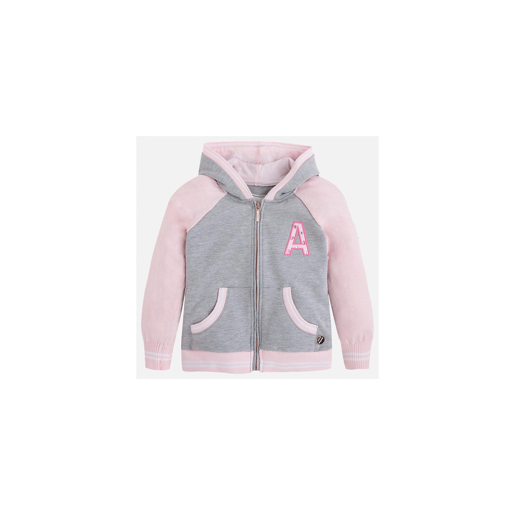Куртка для девочки MayoralТолстовки<br>Характеристики товара:<br><br>• цвет: розовый/серый<br>• состав: 58% хлопок, 40% полиэстер, 2% эластан<br>• застежка: молния<br>• карманы<br>• с длинными рукавами <br>• капюшон<br>• украшена вышивкой<br>• страна бренда: Испания<br><br>Стильная куртка для девочки поможет разнообразить гардероб ребенка и обеспечить тепло в прохладную погоду. Она отлично сочетается и с юбками, и с брюками. Красивый цвет позволяет подобрать к вещи низ различных расцветок. Интересная отделка модели делает её нарядной и стильной. Оригинальной и модной куртку делает крой.<br><br>Одежда, обувь и аксессуары от испанского бренда Mayoral полюбились детям и взрослым по всему миру. Модели этой марки - стильные и удобные. Для их производства используются только безопасные, качественные материалы и фурнитура. Порадуйте ребенка модными и красивыми вещами от Mayoral! <br><br>Куртку для девочки от испанского бренда Mayoral (Майорал) можно купить в нашем интернет-магазине.<br><br>Ширина мм: 356<br>Глубина мм: 10<br>Высота мм: 245<br>Вес г: 519<br>Цвет: розовый<br>Возраст от месяцев: 18<br>Возраст до месяцев: 24<br>Пол: Женский<br>Возраст: Детский<br>Размер: 92,134,98,104,110,116,122,128<br>SKU: 5290188