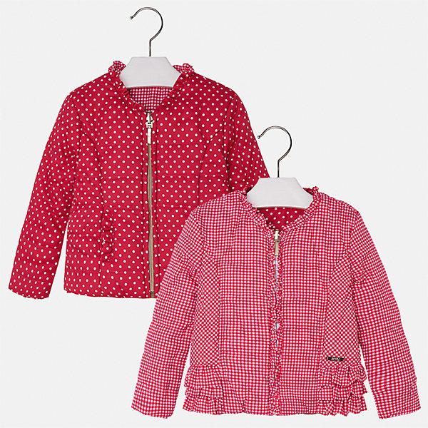 Ветровка двухстороняя для девочки MayoralВерхняя одежда<br>Характеристики товара:<br><br>• цвет: красный<br>• состав: 100% полиэстер<br>• застежка: молния<br>• оборка на вороте<br>• с длинными рукавами <br>• двухсторонняя<br>• одна сторона украшена воланами<br>• страна бренда: Испания<br><br>Стильная легкая ветровка для девочки поможет разнообразить гардероб ребенка и украсить наряд. Уникальна модель тем, что её можно вывернуть - и в распоряжении ребенка еще одна куртка, выполненная в другом стиле! Она отлично сочетается и с юбками, и с брюками. Красивый цвет позволяет подобрать к вещи низ различных расцветок. Интересная отделка модели делает её нарядной и стильной. Оригинальной и модной куртку делает крой.<br><br>Одежда, обувь и аксессуары от испанского бренда Mayoral полюбились детям и взрослым по всему миру. Модели этой марки - стильные и удобные. Для их производства используются только безопасные, качественные материалы и фурнитура. Порадуйте ребенка модными и красивыми вещами от Mayoral! <br><br>Ветровку для девочки от испанского бренда Mayoral (Майорал) можно купить в нашем интернет-магазине.<br>Ширина мм: 356; Глубина мм: 10; Высота мм: 245; Вес г: 519; Цвет: красный; Возраст от месяцев: 18; Возраст до месяцев: 24; Пол: Женский; Возраст: Детский; Размер: 92,134,128,122,116,110,104,98; SKU: 5290224;