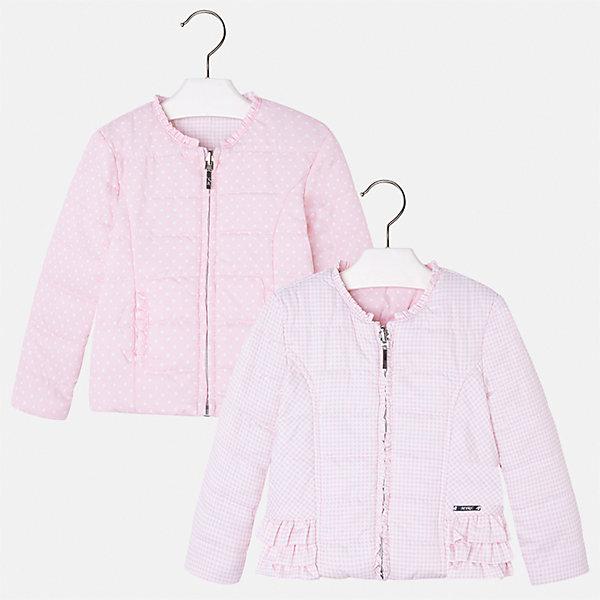 Ветровка двухсторонняя для девочки MayoralВерхняя одежда<br>Характеристики товара:<br><br>• цвет: розовый<br>• состав: 100% полиэстер<br>• температурный режим: от +10°С<br>• застежка: молния<br>• оборка на вороте<br>• с длинными рукавами <br>• двухсторонняя<br>• одна сторона украшена воланами<br>• страна бренда: Испания<br><br>Стильная легкая ветровка для девочки поможет разнообразить гардероб ребенка и украсить наряд. Уникальна модель тем, что её можно вывернуть - и в распоряжении ребенка еще одна куртка, выполненная в другом стиле!  Интересная отделка модели делает её нарядной и стильной.<br><br>Ветровку для девочки от испанского бренда Mayoral (Майорал) можно купить в нашем интернет-магазине.<br><br>Ширина мм: 356<br>Глубина мм: 10<br>Высота мм: 245<br>Вес г: 519<br>Цвет: лиловый<br>Возраст от месяцев: 24<br>Возраст до месяцев: 36<br>Пол: Женский<br>Возраст: Детский<br>Размер: 98,116,110,104,92,134,128,122<br>SKU: 5290233