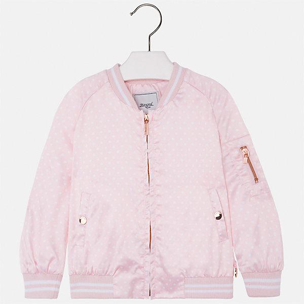 Куртка для девочки MayoralВетровки и жакеты<br>Характеристики товара:<br><br>• цвет: розовый<br>• состав: 97% полиэстер, 3% эластан<br>• застежка: молния<br>• карманы<br>• с длинными рукавами <br>• манжеты<br>• низ - трикотажная резинка<br>• страна бренда: Испания<br><br>Модная удобная куртка для девочки поможет разнообразить гардероб ребенка и обеспечить тепло в прохладную погоду. Она отлично сочетается и с юбками, и с брюками. Красивый цвет позволяет подобрать к вещи низ различных расцветок. Интересная отделка модели делает её нарядной и стильной. <br><br>Одежда, обувь и аксессуары от испанского бренда Mayoral полюбились детям и взрослым по всему миру. Модели этой марки - стильные и удобные. Для их производства используются только безопасные, качественные материалы и фурнитура. Порадуйте ребенка модными и красивыми вещами от Mayoral! <br><br>Куртку для девочки от испанского бренда Mayoral (Майорал) можно купить в нашем интернет-магазине.<br>Ширина мм: 356; Глубина мм: 10; Высота мм: 245; Вес г: 519; Цвет: розовый; Возраст от месяцев: 48; Возраст до месяцев: 60; Пол: Женский; Возраст: Детский; Размер: 110,128,122,116,104,98,92,134; SKU: 5290251;