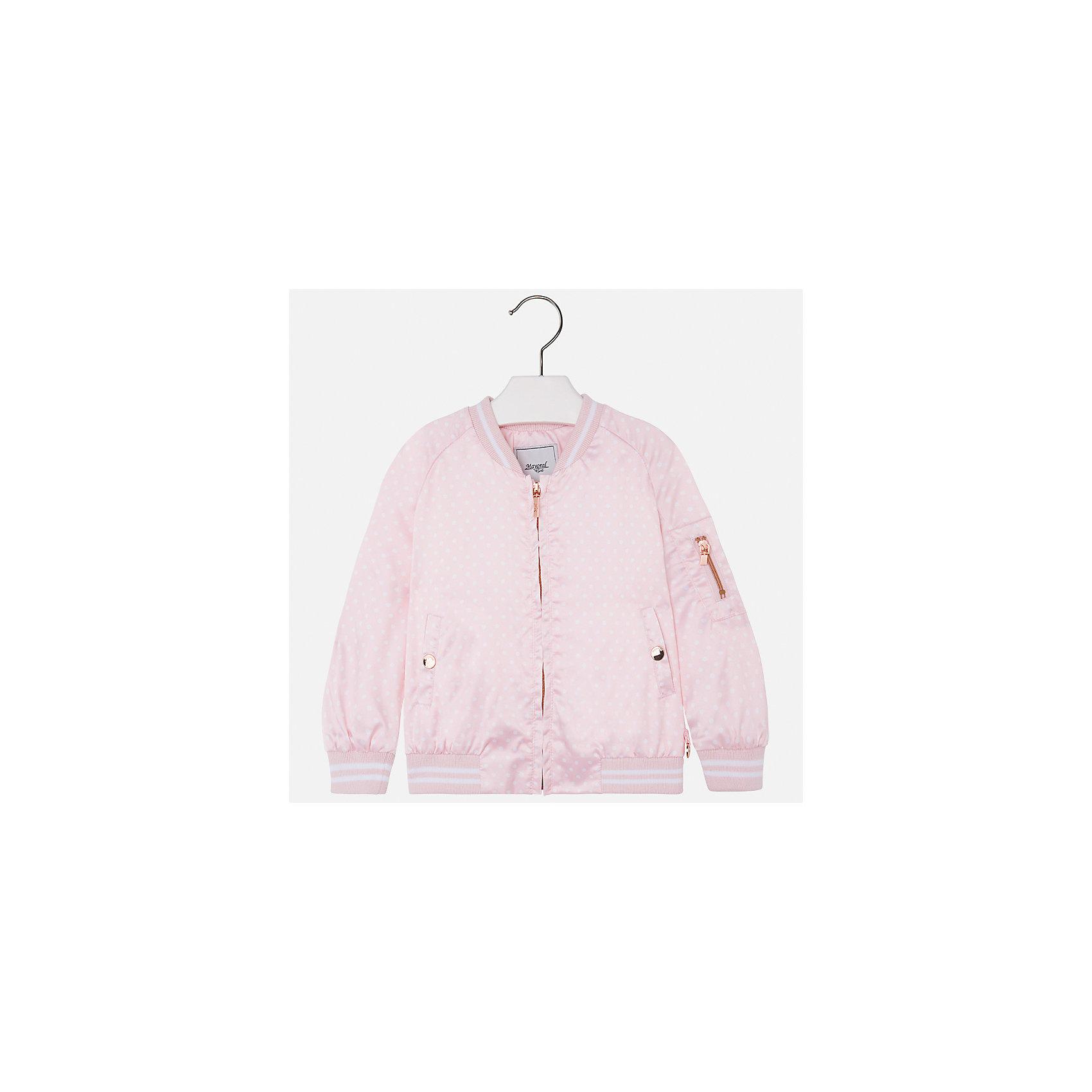 Куртка для девочки MayoralВетровки и жакеты<br>Характеристики товара:<br><br>• цвет: розовый<br>• состав: 97% полиэстер, 3% эластан<br>• застежка: молния<br>• карманы<br>• с длинными рукавами <br>• манжеты<br>• низ - трикотажная резинка<br>• страна бренда: Испания<br><br>Модная удобная куртка для девочки поможет разнообразить гардероб ребенка и обеспечить тепло в прохладную погоду. Она отлично сочетается и с юбками, и с брюками. Красивый цвет позволяет подобрать к вещи низ различных расцветок. Интересная отделка модели делает её нарядной и стильной. <br><br>Одежда, обувь и аксессуары от испанского бренда Mayoral полюбились детям и взрослым по всему миру. Модели этой марки - стильные и удобные. Для их производства используются только безопасные, качественные материалы и фурнитура. Порадуйте ребенка модными и красивыми вещами от Mayoral! <br><br>Куртку для девочки от испанского бренда Mayoral (Майорал) можно купить в нашем интернет-магазине.<br><br>Ширина мм: 356<br>Глубина мм: 10<br>Высота мм: 245<br>Вес г: 519<br>Цвет: розовый<br>Возраст от месяцев: 18<br>Возраст до месяцев: 24<br>Пол: Женский<br>Возраст: Детский<br>Размер: 92,134,98,104,110,116,122,128<br>SKU: 5290251