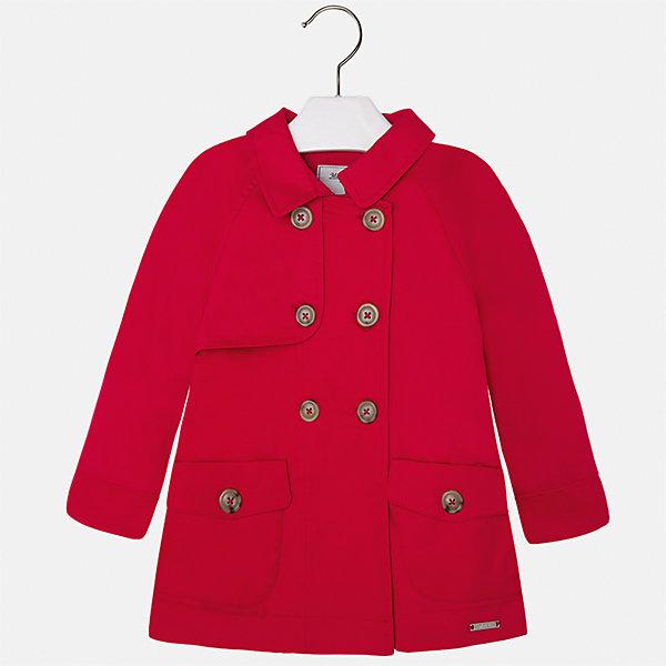 Плащ для девочки MayoralВерхняя одежда<br>Характеристики товара:<br><br>• цвет: красный<br>• состав: 100% хлопок<br>• застежка: пуговицы<br>• карманы<br>• с длинными рукавами <br>• капюшон<br>• классический силуэт<br>• пуговицы в два ряда<br>• страна бренда: Испания<br><br>Легкий удобный плащ для девочки поможет разнообразить гардероб ребенка и обеспечить тепло в прохладную погоду. Он отлично сочетается и с юбками, и с брюками. Красивый цвет позволяет подобрать к вещи обувь различных расцветок. Интересная отделка модели делает её нарядной и стильной. <br><br>Одежда, обувь и аксессуары от испанского бренда Mayoral полюбились детям и взрослым по всему миру. Модели этой марки - стильные и удобные. Для их производства используются только безопасные, качественные материалы и фурнитура. Порадуйте ребенка модными и красивыми вещами от Mayoral! <br><br>Плащ для девочки от испанского бренда Mayoral (Майорал) можно купить в нашем интернет-магазине.<br><br>Ширина мм: 356<br>Глубина мм: 10<br>Высота мм: 245<br>Вес г: 519<br>Цвет: красный<br>Возраст от месяцев: 24<br>Возраст до месяцев: 36<br>Пол: Женский<br>Возраст: Детский<br>Размер: 98,134,92,104,110,116,122,128<br>SKU: 5290269