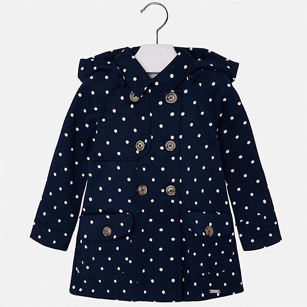Плащ для девочки MayoralВерхняя одежда<br>Характеристики товара:<br><br>• цвет: темно-синий<br>• состав: 100% хлопок<br>• застежка: пуговицы<br>• карманы<br>• с длинными рукавами <br>• капюшон<br>• классический силуэт<br>• пуговицы в два ряда<br>• страна бренда: Испания<br><br>Легкий удобный плащ для девочки поможет разнообразить гардероб ребенка и обеспечить тепло в прохладную погоду. Он отлично сочетается и с юбками, и с брюками. Красивый цвет позволяет подобрать к вещи обувь различных расцветок. Интересная отделка модели делает её нарядной и стильной. <br><br>Одежда, обувь и аксессуары от испанского бренда Mayoral полюбились детям и взрослым по всему миру. Модели этой марки - стильные и удобные. Для их производства используются только безопасные, качественные материалы и фурнитура. Порадуйте ребенка модными и красивыми вещами от Mayoral! <br><br>Плащ для девочки от испанского бренда Mayoral (Майорал) можно купить в нашем интернет-магазине.<br><br>Ширина мм: 356<br>Глубина мм: 10<br>Высота мм: 245<br>Вес г: 519<br>Цвет: белый<br>Возраст от месяцев: 60<br>Возраст до месяцев: 72<br>Пол: Женский<br>Возраст: Детский<br>Размер: 116,92,134,128,122,110,104,98<br>SKU: 5290278