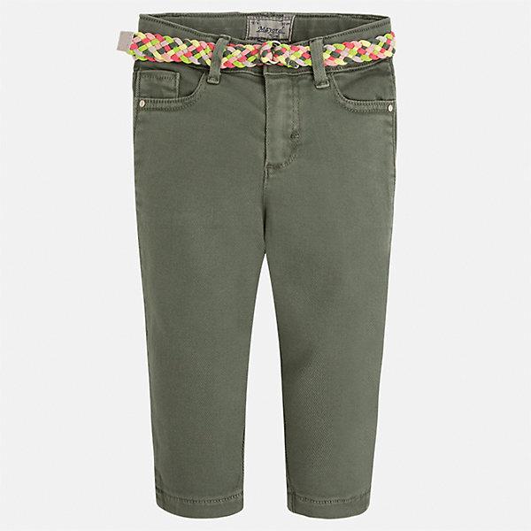 Брюки для девочки MayoralБрюки<br>Характеристики товара:<br><br>• цвет: зелёный<br>• состав: 98% хлопок, 2% эластан<br>• шлевки<br>• карманы<br>• пояс с регулировкой объема<br>• страна бренда: Испания<br><br>Модные легкие брюки для девочки смогут разнообразить гардероб ребенка и украсить наряд. Они отлично сочетаются с майками, футболками, блузками.  Интересный крой модели делает её нарядной и оригинальной. В составе материала - натуральный хлопок, гипоаллергенный, приятный на ощупь, дышащий.<br><br>Брюки для девочки от испанского бренда Mayoral (Майорал) можно купить в нашем интернет-магазине.<br><br>Ширина мм: 215<br>Глубина мм: 88<br>Высота мм: 191<br>Вес г: 336<br>Цвет: зеленый<br>Возраст от месяцев: 60<br>Возраст до месяцев: 72<br>Пол: Женский<br>Возраст: Детский<br>Размер: 128,122,116,134<br>SKU: 5290323