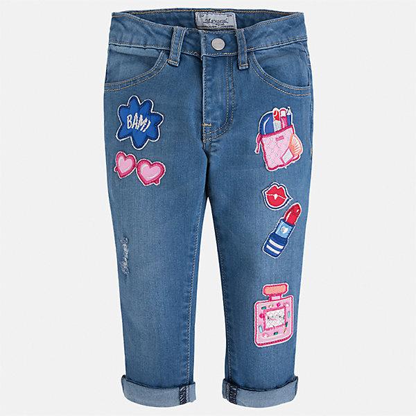 Бриджи джинсовые для девочки MayoralШорты, бриджи, капри<br>Характеристики товара:<br><br>• цвет: синий<br>• состав: 68% хлопок, 29% полиэстер, 2% эластан<br>• шлевки<br>• карманы<br>• пояс с регулировкой объема<br>• отвороты<br>• страна бренда: Испания<br><br>Модные легкие брюки для девочки смогут разнообразить гардероб ребенка и украсить наряд. Они отлично сочетаются с майками, футболками, блузками и т.д. Красивый оттенок позволяет подобрать к вещи верх разных расцветок. Интересная отделка модели делает её нарядной и оригинальной. В составе материала - натуральный хлопок, гипоаллергенный, приятный на ощупь, дышащий.<br><br>Одежда, обувь и аксессуары от испанского бренда Mayoral полюбились детям и взрослым по всему миру. Модели этой марки - стильные и удобные. Для их производства используются только безопасные, качественные материалы и фурнитура. Порадуйте ребенка модными и красивыми вещами от Mayoral! <br><br>Бриджи для девочки от испанского бренда Mayoral (Майорал) можно купить в нашем интернет-магазине.<br><br>Ширина мм: 191<br>Глубина мм: 10<br>Высота мм: 175<br>Вес г: 273<br>Цвет: синий<br>Возраст от месяцев: 48<br>Возраст до месяцев: 60<br>Пол: Женский<br>Возраст: Детский<br>Размер: 110,92,134,128,122,116,104,98<br>SKU: 5290328