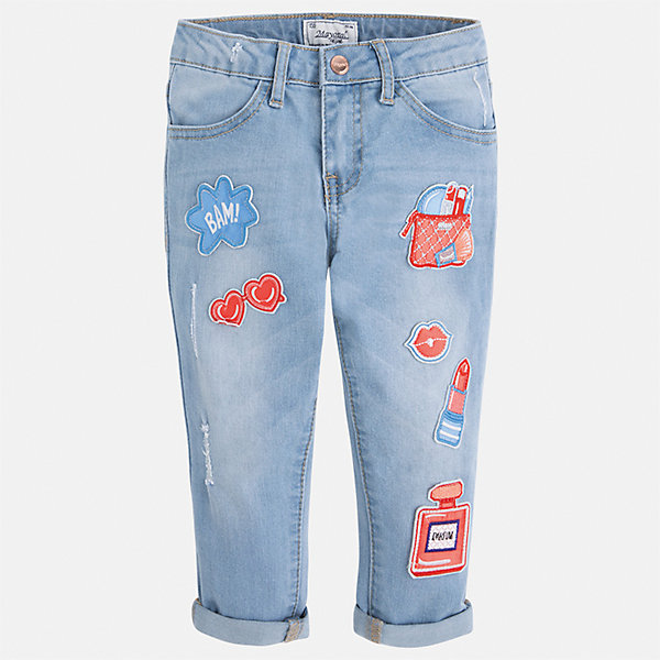 Бриджи джинсовые для девочки MayoralШорты, бриджи, капри<br>Характеристики товара:<br><br>• цвет: голубой<br>• состав: 68% хлопок, 29% полиэстер, 2% эластан<br>• шлевки<br>• карманы<br>• пояс с регулировкой объема<br>• отвороты<br>• страна бренда: Испания<br><br>Модные легкие брюки для девочки смогут разнообразить гардероб ребенка и украсить наряд. Они отлично сочетаются с майками, футболками, блузками и т.д. Красивый оттенок позволяет подобрать к вещи верх разных расцветок. Интересная отделка модели делает её нарядной и оригинальной. В составе материала - натуральный хлопок, гипоаллергенный, приятный на ощупь, дышащий.<br><br>Одежда, обувь и аксессуары от испанского бренда Mayoral полюбились детям и взрослым по всему миру. Модели этой марки - стильные и удобные. Для их производства используются только безопасные, качественные материалы и фурнитура. Порадуйте ребенка модными и красивыми вещами от Mayoral! <br><br>Бриджи для девочки от испанского бренда Mayoral (Майорал) можно купить в нашем интернет-магазине.<br>Ширина мм: 191; Глубина мм: 10; Высота мм: 175; Вес г: 273; Цвет: синий; Возраст от месяцев: 60; Возраст до месяцев: 72; Пол: Женский; Возраст: Детский; Размер: 116,104,98,92,134,128,122,110; SKU: 5290337;