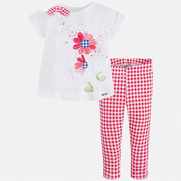 Комплект: футболка и бриджи для девочки MayoralКомплекты<br>Характеристики товара:<br><br>• цвет: белый/красный<br>• состав: 95% хлопок, 5% эластан<br>• комплектация: футболка, бриджи<br>• футболка декорирована принтом<br>• бриджи в клетку<br>• пояс на резинке<br>• страна бренда: Испания<br><br>Модный качественный комплект для девочки поможет разнообразить гардероб ребенка и удобно одеться в теплую погоду. Он отлично сочетается с другими предметами. Универсальный цвет позволяет подобрать к вещам верхнюю одежду практически любой расцветки. Интересная отделка модели делает её нарядной и оригинальной. В составе материала - натуральный хлопок, гипоаллергенный, приятный на ощупь, дышащий.<br><br>Одежда, обувь и аксессуары от испанского бренда Mayoral полюбились детям и взрослым по всему миру. Модели этой марки - стильные и удобные. Для их производства используются только безопасные, качественные материалы и фурнитура. Порадуйте ребенка модными и красивыми вещами от Mayoral! <br><br>Комплект для девочки от испанского бренда Mayoral (Майорал) можно купить в нашем интернет-магазине.<br><br>Ширина мм: 191<br>Глубина мм: 10<br>Высота мм: 175<br>Вес г: 273<br>Цвет: красный<br>Возраст от месяцев: 96<br>Возраст до месяцев: 108<br>Пол: Женский<br>Возраст: Детский<br>Размер: 134,98,128,122,116,110,104<br>SKU: 5290381