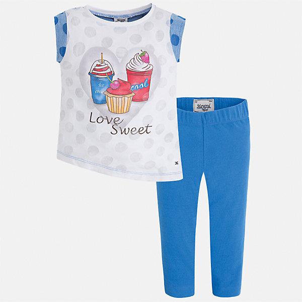 Комплект: футболка с длинным рукавом и бриджи для девочки MayoralКомплекты<br>Характеристики товара:<br><br>• цвет: голубой<br>• состав: 55% хлопок, 45% полиэстер<br>• комплектация: футболка, бриджи<br>• футболка декорирована принтом<br>• бриджи в клетку<br>• пояс на резинке<br>• страна бренда: Испания<br><br>Красивый качественный комплект для девочки поможет разнообразить гардероб ребенка и удобно одеться в теплую погоду. Он отлично сочетается с другими предметами. Универсальный цвет позволяет подобрать к вещам верхнюю одежду практически любой расцветки. Интересная отделка модели делает её нарядной и оригинальной. В составе материала - натуральный хлопок, гипоаллергенный, приятный на ощупь, дышащий.<br><br>Одежда, обувь и аксессуары от испанского бренда Mayoral полюбились детям и взрослым по всему миру. Модели этой марки - стильные и удобные. Для их производства используются только безопасные, качественные материалы и фурнитура. Порадуйте ребенка модными и красивыми вещами от Mayoral! <br><br>Комплект для девочки от испанского бренда Mayoral (Майорал) можно купить в нашем интернет-магазине.<br>Ширина мм: 191; Глубина мм: 10; Высота мм: 175; Вес г: 273; Цвет: синий; Возраст от месяцев: 18; Возраст до месяцев: 24; Пол: Женский; Возраст: Детский; Размер: 92,134,128,122,116,110,104,98; SKU: 5290398;