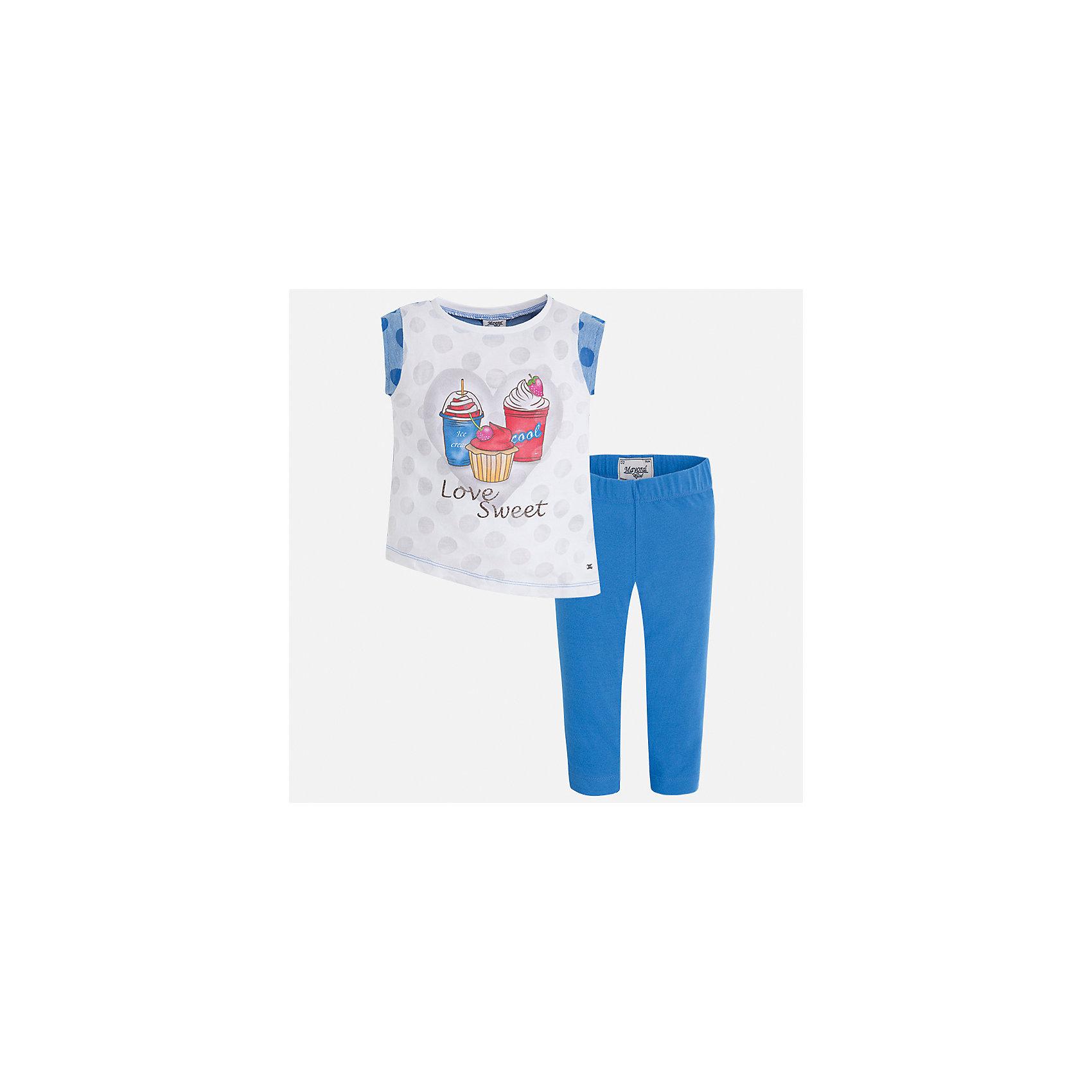 Комплект: футболка с длинным рукавом и бриджи для девочки MayoralКомплекты<br>Характеристики товара:<br><br>• цвет: голубой<br>• состав: 55% хлопок, 45% полиэстер<br>• комплектация: футболка, бриджи<br>• футболка декорирована принтом<br>• бриджи в клетку<br>• пояс на резинке<br>• страна бренда: Испания<br><br>Красивый качественный комплект для девочки поможет разнообразить гардероб ребенка и удобно одеться в теплую погоду. Он отлично сочетается с другими предметами. Универсальный цвет позволяет подобрать к вещам верхнюю одежду практически любой расцветки. Интересная отделка модели делает её нарядной и оригинальной. В составе материала - натуральный хлопок, гипоаллергенный, приятный на ощупь, дышащий.<br><br>Одежда, обувь и аксессуары от испанского бренда Mayoral полюбились детям и взрослым по всему миру. Модели этой марки - стильные и удобные. Для их производства используются только безопасные, качественные материалы и фурнитура. Порадуйте ребенка модными и красивыми вещами от Mayoral! <br><br>Комплект для девочки от испанского бренда Mayoral (Майорал) можно купить в нашем интернет-магазине.<br><br>Ширина мм: 191<br>Глубина мм: 10<br>Высота мм: 175<br>Вес г: 273<br>Цвет: синий<br>Возраст от месяцев: 96<br>Возраст до месяцев: 108<br>Пол: Женский<br>Возраст: Детский<br>Размер: 92,98,104,110,116,122,128,134<br>SKU: 5290398