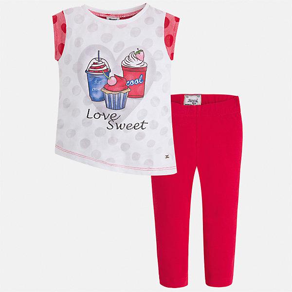 Комплект: футболка с длинным рукавом и бриджи для девочки MayoralКомплекты<br>Характеристики товара:<br><br>• цвет: розовый<br>• состав: 55% хлопок, 45% полиэстер<br>• комплектация: футболка, бриджи<br>• футболка декорирована принтом<br>• бриджи в клетку<br>• пояс на резинке<br>• страна бренда: Испания<br><br>Красивый качественный комплект для девочки поможет разнообразить гардероб ребенка и удобно одеться в теплую погоду. Он отлично сочетается с другими предметами. Универсальный цвет позволяет подобрать к вещам верхнюю одежду практически любой расцветки. Интересная отделка модели делает её нарядной и оригинальной. В составе материала - натуральный хлопок, гипоаллергенный, приятный на ощупь, дышащий.<br><br>Одежда, обувь и аксессуары от испанского бренда Mayoral полюбились детям и взрослым по всему миру. Модели этой марки - стильные и удобные. Для их производства используются только безопасные, качественные материалы и фурнитура. Порадуйте ребенка модными и красивыми вещами от Mayoral! <br><br>Комплект для девочки от испанского бренда Mayoral (Майорал) можно купить в нашем интернет-магазине.<br><br>Ширина мм: 191<br>Глубина мм: 10<br>Высота мм: 175<br>Вес г: 273<br>Цвет: красный<br>Возраст от месяцев: 24<br>Возраст до месяцев: 36<br>Пол: Женский<br>Возраст: Детский<br>Размер: 98,92,134,128,122,116,110,104<br>SKU: 5290407