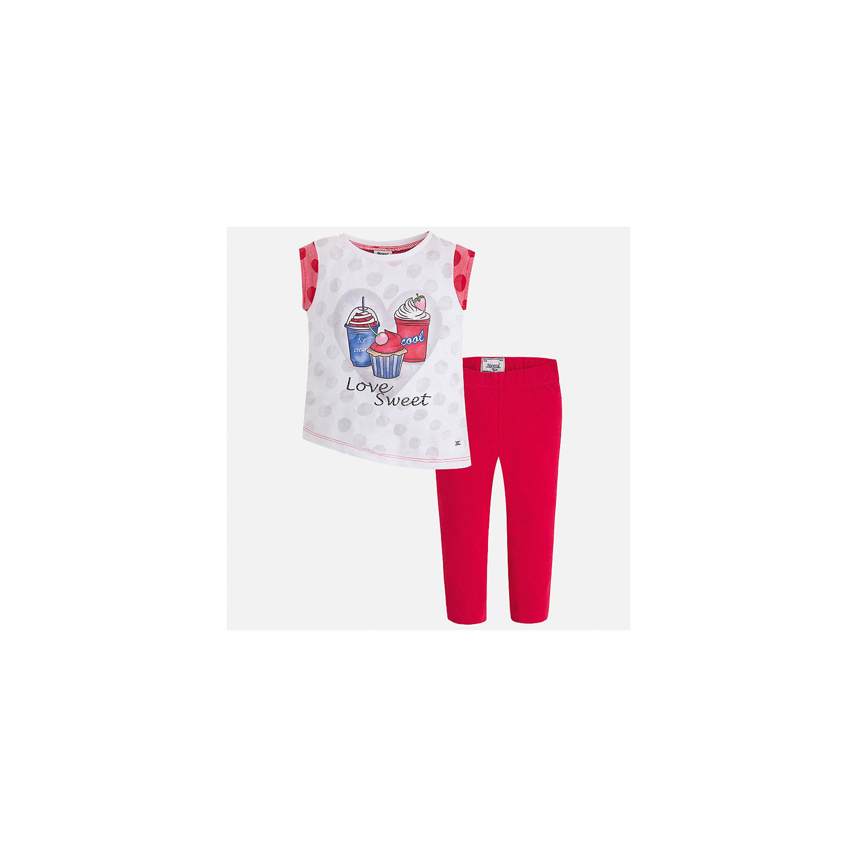 Комплект: футболка с длинным рукавом и бриджи для девочки MayoralКомплекты<br>Характеристики товара:<br><br>• цвет: розовый<br>• состав: 55% хлопок, 45% полиэстер<br>• комплектация: футболка, бриджи<br>• футболка декорирована принтом<br>• бриджи в клетку<br>• пояс на резинке<br>• страна бренда: Испания<br><br>Красивый качественный комплект для девочки поможет разнообразить гардероб ребенка и удобно одеться в теплую погоду. Он отлично сочетается с другими предметами. Универсальный цвет позволяет подобрать к вещам верхнюю одежду практически любой расцветки. Интересная отделка модели делает её нарядной и оригинальной. В составе материала - натуральный хлопок, гипоаллергенный, приятный на ощупь, дышащий.<br><br>Одежда, обувь и аксессуары от испанского бренда Mayoral полюбились детям и взрослым по всему миру. Модели этой марки - стильные и удобные. Для их производства используются только безопасные, качественные материалы и фурнитура. Порадуйте ребенка модными и красивыми вещами от Mayoral! <br><br>Комплект для девочки от испанского бренда Mayoral (Майорал) можно купить в нашем интернет-магазине.<br><br>Ширина мм: 191<br>Глубина мм: 10<br>Высота мм: 175<br>Вес г: 273<br>Цвет: красный<br>Возраст от месяцев: 18<br>Возраст до месяцев: 24<br>Пол: Женский<br>Возраст: Детский<br>Размер: 92,134,128,122,116,110,104,98<br>SKU: 5290407