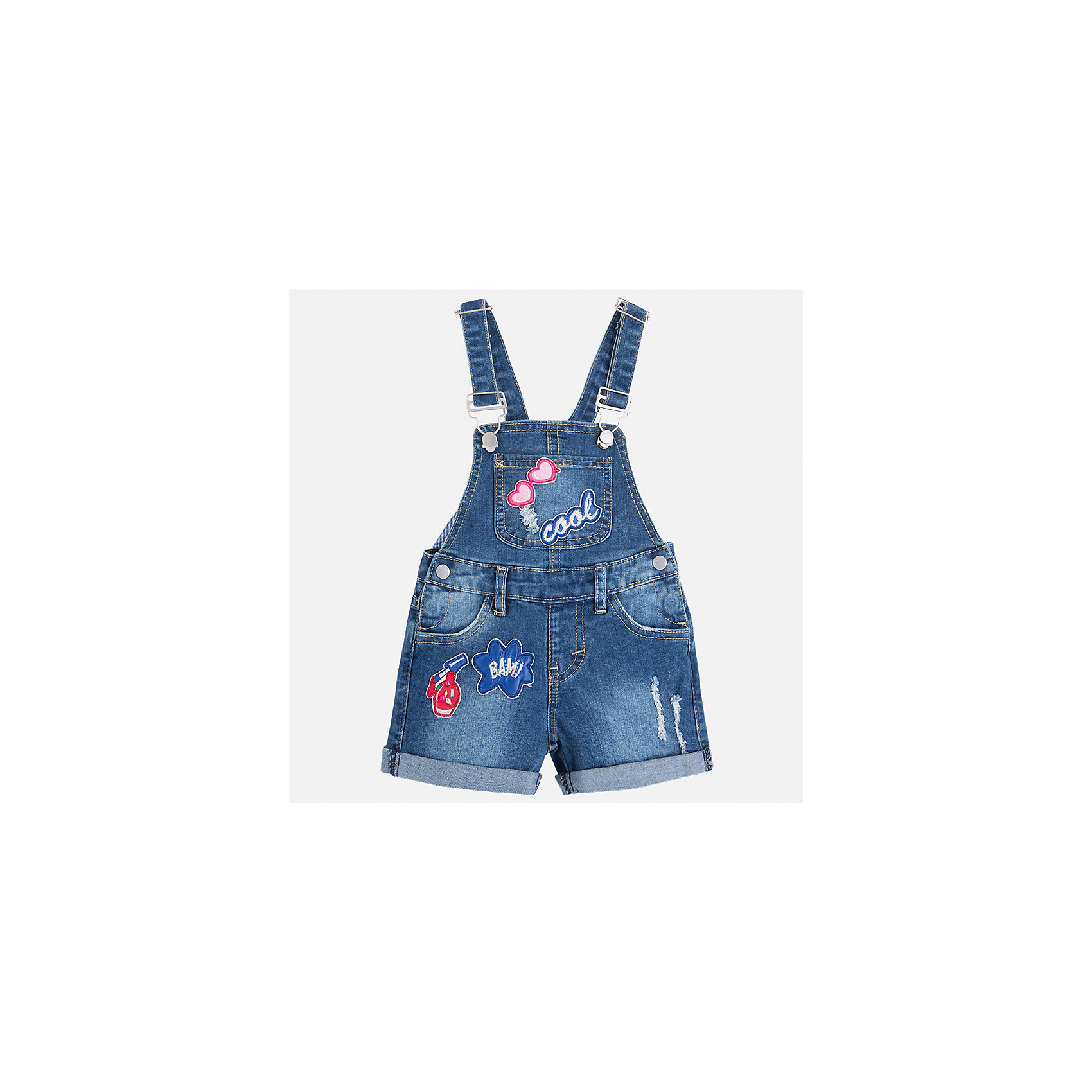 Комбинезон джинсовый для девочки MayoralКомбинезоны<br>Характеристики товара:<br><br>• цвет: синий<br>• состав: верх - 69% хлопок, 29% полиэстер, 2% эластан; подкладка - 93% полиэстер, 7% эластан<br>• шлевки<br>• карманы<br>• лямки с регулировкой объема<br>• декорирован вышивкой<br>• страна бренда: Испания<br><br>Стильный джинсовый комбинезон для девочки поможет разнообразить гардероб ребенка и украсить наряд. Он отлично сочетается с майками, футболками, блузками и т.д. Универсальный цвет позволяет подобрать к вещи верх разных расцветок. Интересная отделка модели делает её нарядной и оригинальной. В составе материала - натуральный хлопок, гипоаллергенный, приятный на ощупь, дышащий.<br><br>Одежда, обувь и аксессуары от испанского бренда Mayoral полюбились детям и взрослым по всему миру. Модели этой марки - стильные и удобные. Для их производства используются только безопасные, качественные материалы и фурнитура. Порадуйте ребенка модными и красивыми вещами от Mayoral! <br><br>Комбинезон для девочки от испанского бренда Mayoral (Майорал) можно купить в нашем интернет-магазине.<br><br>Ширина мм: 215<br>Глубина мм: 88<br>Высота мм: 191<br>Вес г: 336<br>Цвет: синий<br>Возраст от месяцев: 24<br>Возраст до месяцев: 36<br>Пол: Женский<br>Возраст: Детский<br>Размер: 98,134,92,104,110,116,122,128<br>SKU: 5290416