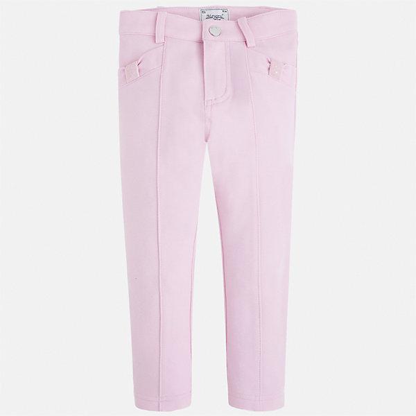 Брюки для девочки MayoralБрюки<br>Характеристики товара:<br><br>• цвет: розовый<br>• состав: 65% вискоза, 30% полиамид, 5% эластан<br>• шлевки<br>• эластичный материал<br>• стрелки<br>• декоративная отделка карманов<br>• страна бренда: Испания<br><br>Модные леггинсы для девочки смогут разнообразить гардероб ребенка и украсить наряд. Они отлично сочетаются с майками, футболками, блузками. Красивый оттенок позволяет подобрать к вещи верх разных расцветок. В составе материала - натуральный хлопок, гипоаллергенный, приятный на ощупь, дышащий. Леггинсы отлично сидят и не стесняют движения.<br><br>Одежда, обувь и аксессуары от испанского бренда Mayoral полюбились детям и взрослым по всему миру. Модели этой марки - стильные и удобные. Для их производства используются только безопасные, качественные материалы и фурнитура. Порадуйте ребенка модными и красивыми вещами от Mayoral! <br><br>Леггинсы для девочки от испанского бренда Mayoral (Майорал) можно купить в нашем интернет-магазине.<br>Ширина мм: 123; Глубина мм: 10; Высота мм: 149; Вес г: 209; Цвет: лиловый; Возраст от месяцев: 18; Возраст до месяцев: 24; Пол: Женский; Возраст: Детский; Размер: 92,134,128,122,116,110,104,98; SKU: 5290514;