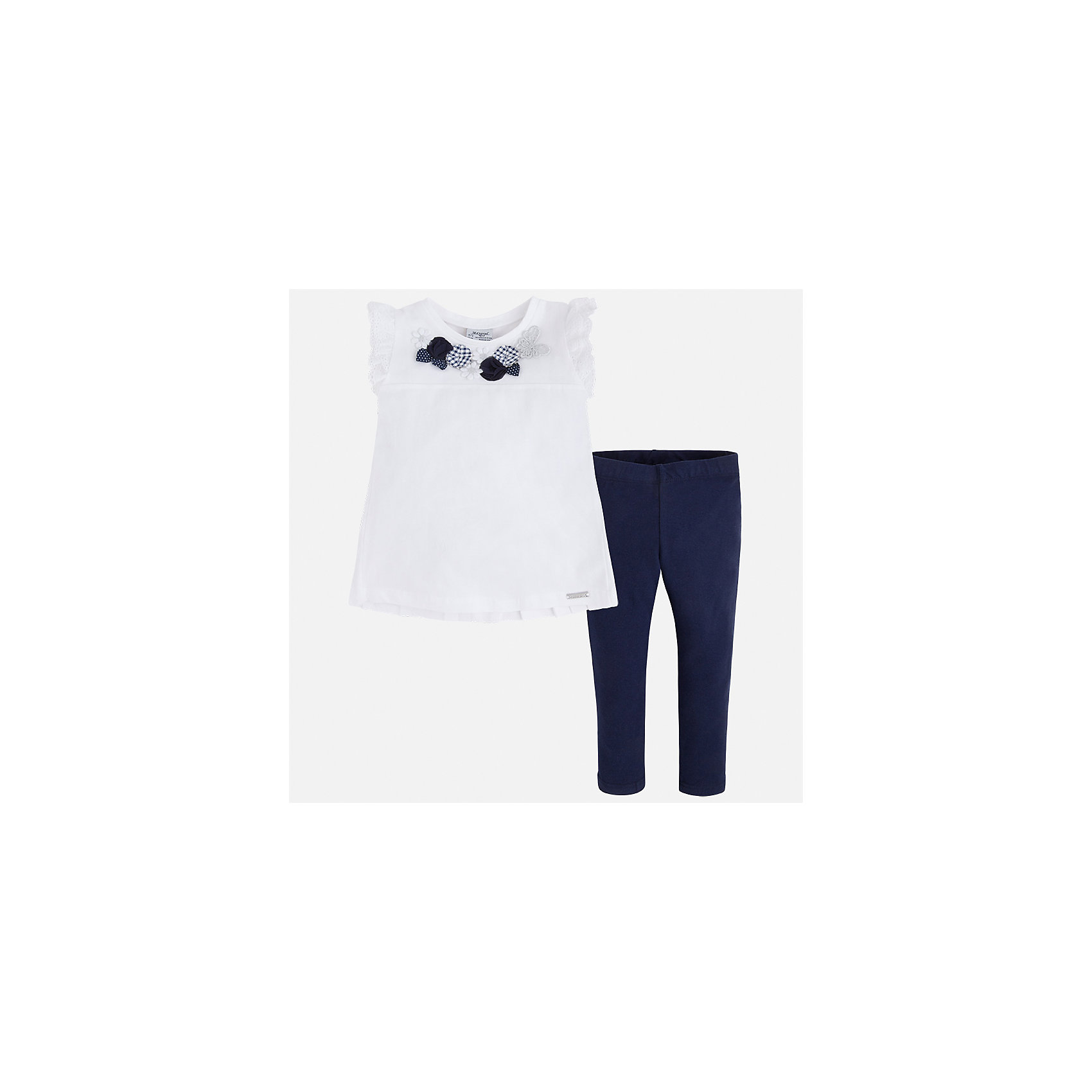 Комплект: футболка и леггинсы для девочки MayoralКомплекты<br>Характеристики товара:<br><br>• цвет: белый/синий<br>• состав: 95% хлопок, 5% эластан<br>• комплектация: футболка, леггинсы<br>• футболка декорирована принтом и оборками<br>• леггинсы однотонные<br>• пояс на резинке<br>• страна бренда: Испания<br><br>Красивый качественный комплект для девочки поможет разнообразить гардероб ребенка и удобно одеться в теплую погоду. Он отлично сочетается с другими предметами. Универсальный цвет позволяет подобрать к вещам верхнюю одежду практически любой расцветки. Интересная отделка модели делает её нарядной и оригинальной. В составе материала - натуральный хлопок, гипоаллергенный, приятный на ощупь, дышащий.<br><br>Одежда, обувь и аксессуары от испанского бренда Mayoral полюбились детям и взрослым по всему миру. Модели этой марки - стильные и удобные. Для их производства используются только безопасные, качественные материалы и фурнитура. Порадуйте ребенка модными и красивыми вещами от Mayoral! <br><br>Комплект для девочки от испанского бренда Mayoral (Майорал) можно купить в нашем интернет-магазине.<br><br>Ширина мм: 123<br>Глубина мм: 10<br>Высота мм: 149<br>Вес г: 209<br>Цвет: синий<br>Возраст от месяцев: 96<br>Возраст до месяцев: 108<br>Пол: Женский<br>Возраст: Детский<br>Размер: 134,92,98,116,122,128,104,110<br>SKU: 5290550