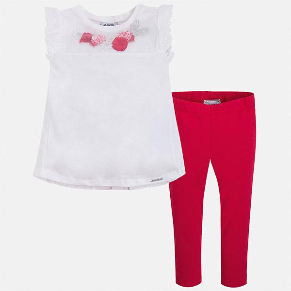 Комплект: футболка и леггинсы для девочки MayoralКомплекты<br>Характеристики товара:<br><br>• цвет: белый/красный<br>• состав: 95% хлопок, 5% эластан<br>• комплектация: футболка, леггинсы<br>• футболка декорирована принтом и оборками<br>• леггинсы однотонные<br>• пояс на резинке<br>• страна бренда: Испания<br><br>Красивый качественный комплект для девочки поможет разнообразить гардероб ребенка и удобно одеться в теплую погоду. Он отлично сочетается с другими предметами. Универсальный цвет позволяет подобрать к вещам верхнюю одежду практически любой расцветки. Интересная отделка модели делает её нарядной и оригинальной. В составе материала - натуральный хлопок, гипоаллергенный, приятный на ощупь, дышащий.<br><br>Одежда, обувь и аксессуары от испанского бренда Mayoral полюбились детям и взрослым по всему миру. Модели этой марки - стильные и удобные. Для их производства используются только безопасные, качественные материалы и фурнитура. Порадуйте ребенка модными и красивыми вещами от Mayoral! <br><br>Комплект для девочки от испанского бренда Mayoral (Майорал) можно купить в нашем интернет-магазине.<br>Ширина мм: 123; Глубина мм: 10; Высота мм: 149; Вес г: 209; Цвет: красный; Возраст от месяцев: 36; Возраст до месяцев: 48; Пол: Женский; Возраст: Детский; Размер: 104,116,110,98,92,122,134,128; SKU: 5290559;