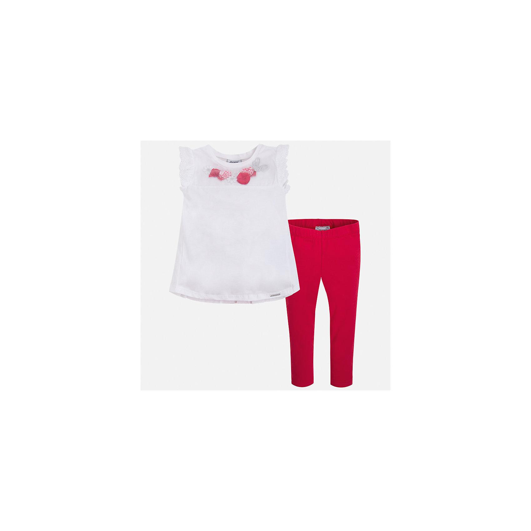Комплект: футболка и леггинсы для девочки MayoralКомплекты<br>Характеристики товара:<br><br>• цвет: белый/красный<br>• состав: 95% хлопок, 5% эластан<br>• комплектация: футболка, леггинсы<br>• футболка декорирована принтом и оборками<br>• леггинсы однотонные<br>• пояс на резинке<br>• страна бренда: Испания<br><br>Красивый качественный комплект для девочки поможет разнообразить гардероб ребенка и удобно одеться в теплую погоду. Он отлично сочетается с другими предметами. Универсальный цвет позволяет подобрать к вещам верхнюю одежду практически любой расцветки. Интересная отделка модели делает её нарядной и оригинальной. В составе материала - натуральный хлопок, гипоаллергенный, приятный на ощупь, дышащий.<br><br>Одежда, обувь и аксессуары от испанского бренда Mayoral полюбились детям и взрослым по всему миру. Модели этой марки - стильные и удобные. Для их производства используются только безопасные, качественные материалы и фурнитура. Порадуйте ребенка модными и красивыми вещами от Mayoral! <br><br>Комплект для девочки от испанского бренда Mayoral (Майорал) можно купить в нашем интернет-магазине.<br><br>Ширина мм: 123<br>Глубина мм: 10<br>Высота мм: 149<br>Вес г: 209<br>Цвет: красный<br>Возраст от месяцев: 96<br>Возраст до месяцев: 108<br>Пол: Женский<br>Возраст: Детский<br>Размер: 134,122,92,98,104,110,116,128<br>SKU: 5290559