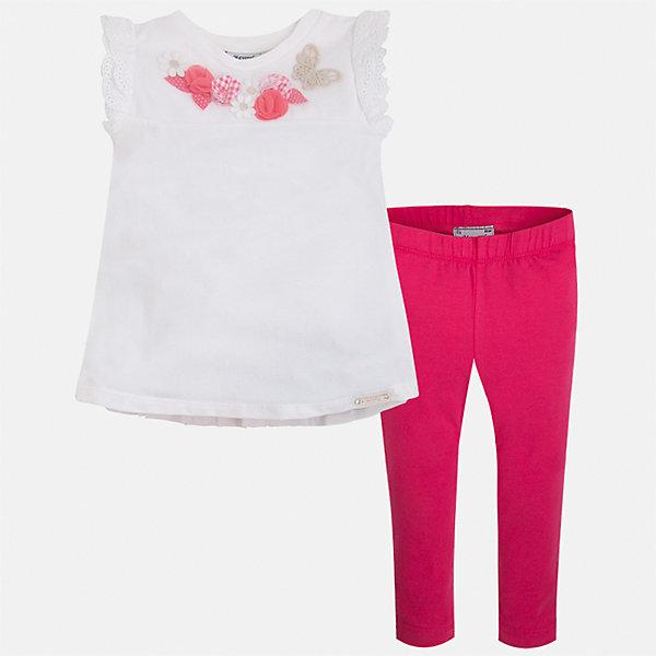 Комплект: футболка и леггинсы для девочки MayoralКомплекты<br>Характеристики товара:<br><br>• цвет: белый/розовый<br>• состав: 95% хлопок, 5% эластан<br>• комплектация: футболка, леггинсы<br>• футболка декорирована принтом и оборками<br>• леггинсы однотонные<br>• пояс на резинке<br>• страна бренда: Испания<br><br>Красивый качественный комплект для девочки поможет разнообразить гардероб ребенка и удобно одеться в теплую погоду. Он отлично сочетается с другими предметами. Универсальный цвет позволяет подобрать к вещам верхнюю одежду практически любой расцветки. Интересная отделка модели делает её нарядной и оригинальной. В составе материала - натуральный хлопок, гипоаллергенный, приятный на ощупь, дышащий.<br><br>Одежда, обувь и аксессуары от испанского бренда Mayoral полюбились детям и взрослым по всему миру. Модели этой марки - стильные и удобные. Для их производства используются только безопасные, качественные материалы и фурнитура. Порадуйте ребенка модными и красивыми вещами от Mayoral! <br><br>Комплект для девочки от испанского бренда Mayoral (Майорал) можно купить в нашем интернет-магазине.<br>Ширина мм: 123; Глубина мм: 10; Высота мм: 149; Вес г: 209; Цвет: красный; Возраст от месяцев: 18; Возраст до месяцев: 24; Пол: Женский; Возраст: Детский; Размер: 92,122,104,98,116,110,134,128; SKU: 5290568;