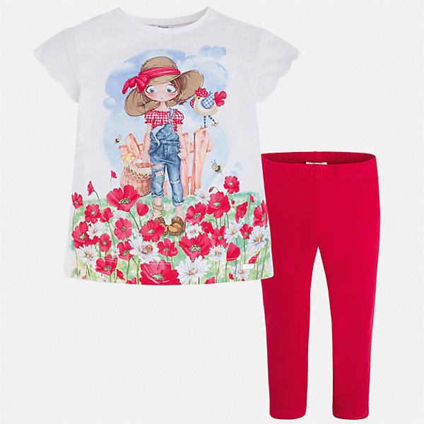 Комплект: футболка и леггинсы для девочки MayoralКомплекты<br>Характеристики товара:<br><br>• цвет: белый/красный<br>• состав: 92% хлопок, 8% эластан<br>• комплектация: футболка, леггинсы<br>• футболка декорирована принтом <br>• леггинсы однотонные<br>• пояс на резинке<br>• страна бренда: Испания<br><br>Модный качественный комплект для девочки поможет разнообразить гардероб ребенка и удобно одеться в теплую погоду. Он отлично сочетается с другими предметами. Универсальный цвет позволяет подобрать к вещам верхнюю одежду практически любой расцветки. Интересная отделка модели делает её нарядной и оригинальной. В составе материала - натуральный хлопок, гипоаллергенный, приятный на ощупь, дышащий.<br><br>Одежда, обувь и аксессуары от испанского бренда Mayoral полюбились детям и взрослым по всему миру. Модели этой марки - стильные и удобные. Для их производства используются только безопасные, качественные материалы и фурнитура. Порадуйте ребенка модными и красивыми вещами от Mayoral! <br><br>Комплект для девочки от испанского бренда Mayoral (Майорал) можно купить в нашем интернет-магазине.<br><br>Ширина мм: 123<br>Глубина мм: 10<br>Высота мм: 149<br>Вес г: 209<br>Цвет: красный<br>Возраст от месяцев: 18<br>Возраст до месяцев: 24<br>Пол: Женский<br>Возраст: Детский<br>Размер: 92,134,128,122,116,110,104,98<br>SKU: 5290577