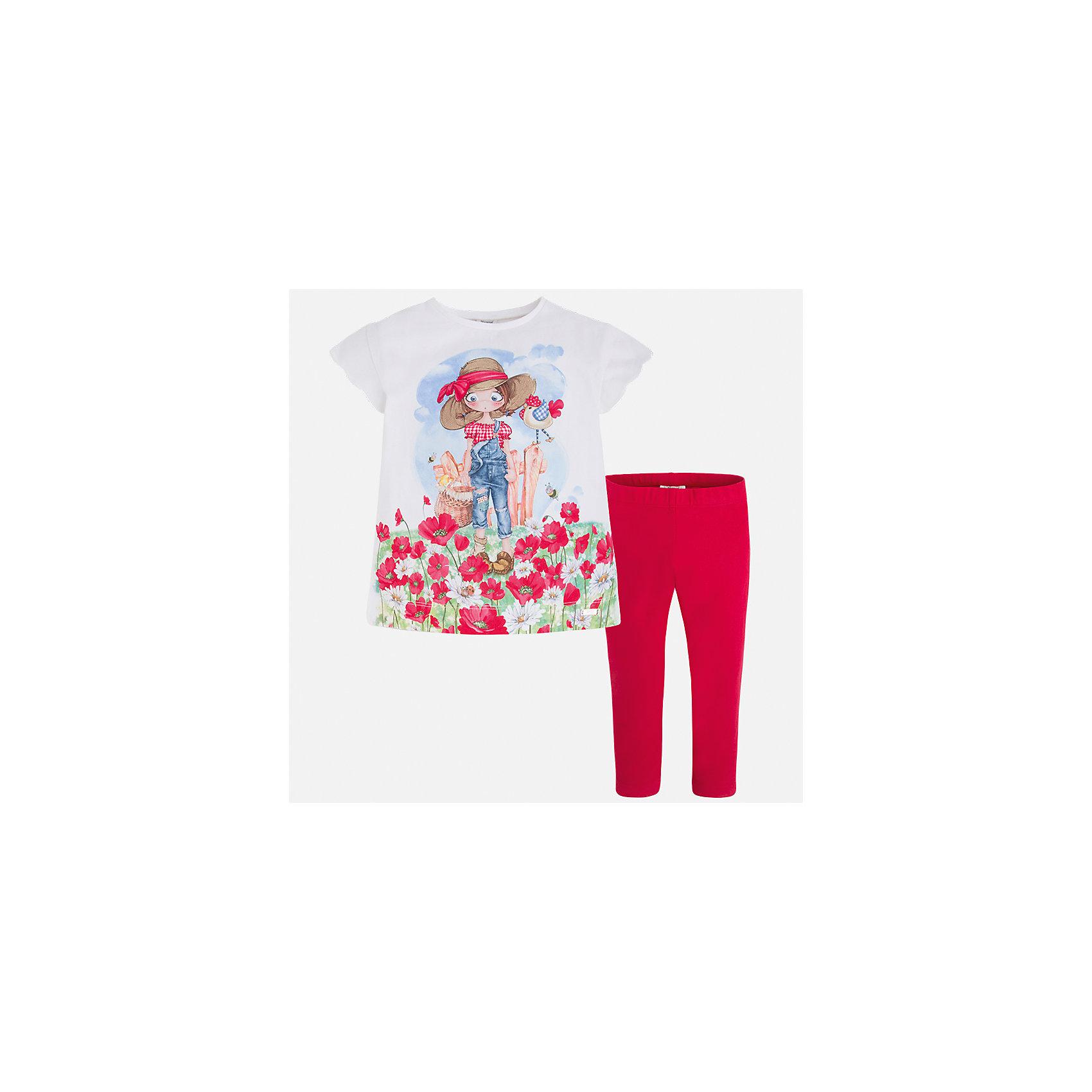 Комплект: футболка и леггинсы для девочки MayoralВесенняя капель<br>Характеристики товара:<br><br>• цвет: белый/красный<br>• состав: 92% хлопок, 8% эластан<br>• комплектация: футболка, леггинсы<br>• футболка декорирована принтом <br>• леггинсы однотонные<br>• пояс на резинке<br>• страна бренда: Испания<br><br>Модный качественный комплект для девочки поможет разнообразить гардероб ребенка и удобно одеться в теплую погоду. Он отлично сочетается с другими предметами. Универсальный цвет позволяет подобрать к вещам верхнюю одежду практически любой расцветки. Интересная отделка модели делает её нарядной и оригинальной. В составе материала - натуральный хлопок, гипоаллергенный, приятный на ощупь, дышащий.<br><br>Одежда, обувь и аксессуары от испанского бренда Mayoral полюбились детям и взрослым по всему миру. Модели этой марки - стильные и удобные. Для их производства используются только безопасные, качественные материалы и фурнитура. Порадуйте ребенка модными и красивыми вещами от Mayoral! <br><br>Комплект для девочки от испанского бренда Mayoral (Майорал) можно купить в нашем интернет-магазине.<br><br>Ширина мм: 123<br>Глубина мм: 10<br>Высота мм: 149<br>Вес г: 209<br>Цвет: красный<br>Возраст от месяцев: 18<br>Возраст до месяцев: 24<br>Пол: Женский<br>Возраст: Детский<br>Размер: 92,134,98,104,110,116,122,128<br>SKU: 5290577