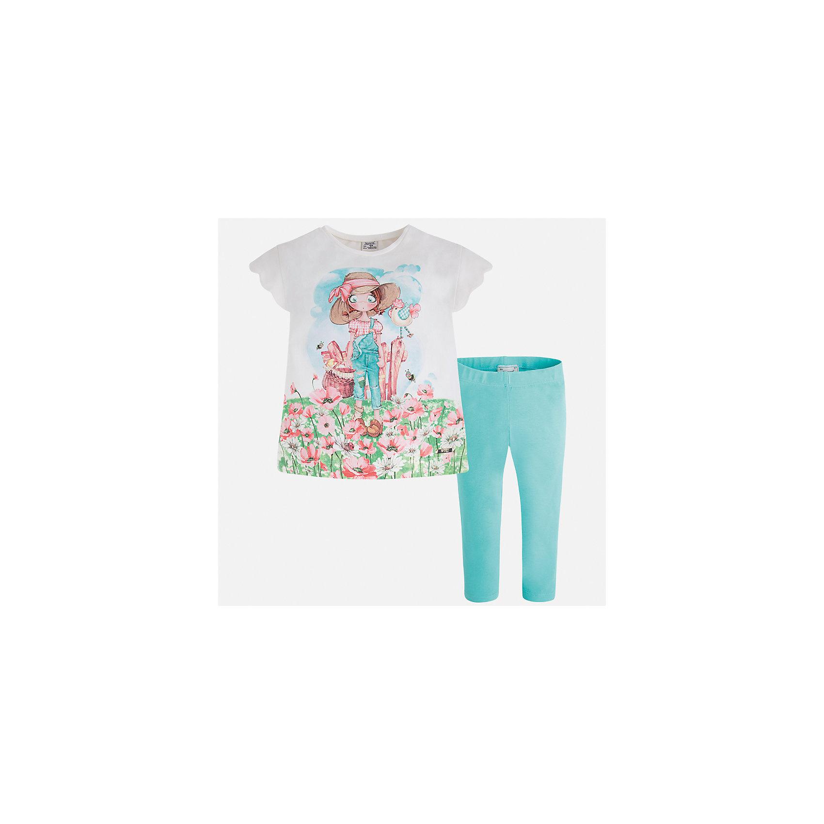 Комплект: футболка и леггинсы для девочки MayoralХарактеристики товара:<br><br>• цвет: белый/зеленый<br>• состав: 92% хлопок, 8% эластан<br>• комплектация: футболка, леггинсы<br>• футболка декорирована принтом <br>• леггинсы однотонные<br>• пояс на резинке<br>• страна бренда: Испания<br><br>Модный качественный комплект для девочки поможет разнообразить гардероб ребенка и удобно одеться в теплую погоду. Он отлично сочетается с другими предметами. Универсальный цвет позволяет подобрать к вещам верхнюю одежду практически любой расцветки. Интересная отделка модели делает её нарядной и оригинальной. В составе материала - натуральный хлопок, гипоаллергенный, приятный на ощупь, дышащий.<br><br>Одежда, обувь и аксессуары от испанского бренда Mayoral полюбились детям и взрослым по всему миру. Модели этой марки - стильные и удобные. Для их производства используются только безопасные, качественные материалы и фурнитура. Порадуйте ребенка модными и красивыми вещами от Mayoral! <br><br>Комплект для девочки от испанского бренда Mayoral (Майорал) можно купить в нашем интернет-магазине.<br><br>Ширина мм: 123<br>Глубина мм: 10<br>Высота мм: 149<br>Вес г: 209<br>Цвет: синий<br>Возраст от месяцев: 18<br>Возраст до месяцев: 24<br>Пол: Женский<br>Возраст: Детский<br>Размер: 92,134,98,104,110,116,122,128<br>SKU: 5290586