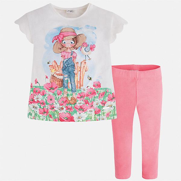 Комплект: футболка и леггинсы для девочки MayoralКомплекты<br>Характеристики товара:<br><br>• цвет: белый/розовый<br>• состав: 92% хлопок, 8% эластан<br>• комплектация: футболка, леггинсы<br>• футболка декорирована принтом <br>• леггинсы однотонные<br>• пояс на резинке<br>• страна бренда: Испания<br><br>Модный качественный комплект для девочки поможет разнообразить гардероб ребенка и удобно одеться в теплую погоду. Он отлично сочетается с другими предметами. Универсальный цвет позволяет подобрать к вещам верхнюю одежду практически любой расцветки. Интересная отделка модели делает её нарядной и оригинальной. В составе материала - натуральный хлопок, гипоаллергенный, приятный на ощупь, дышащий.<br><br>Одежда, обувь и аксессуары от испанского бренда Mayoral полюбились детям и взрослым по всему миру. Модели этой марки - стильные и удобные. Для их производства используются только безопасные, качественные материалы и фурнитура. Порадуйте ребенка модными и красивыми вещами от Mayoral! <br><br>Комплект для девочки от испанского бренда Mayoral (Майорал) можно купить в нашем интернет-магазине.<br><br>Ширина мм: 123<br>Глубина мм: 10<br>Высота мм: 149<br>Вес г: 209<br>Цвет: розовый<br>Возраст от месяцев: 18<br>Возраст до месяцев: 24<br>Пол: Женский<br>Возраст: Детский<br>Размер: 92,134,128,122,116,110,104,98<br>SKU: 5290595