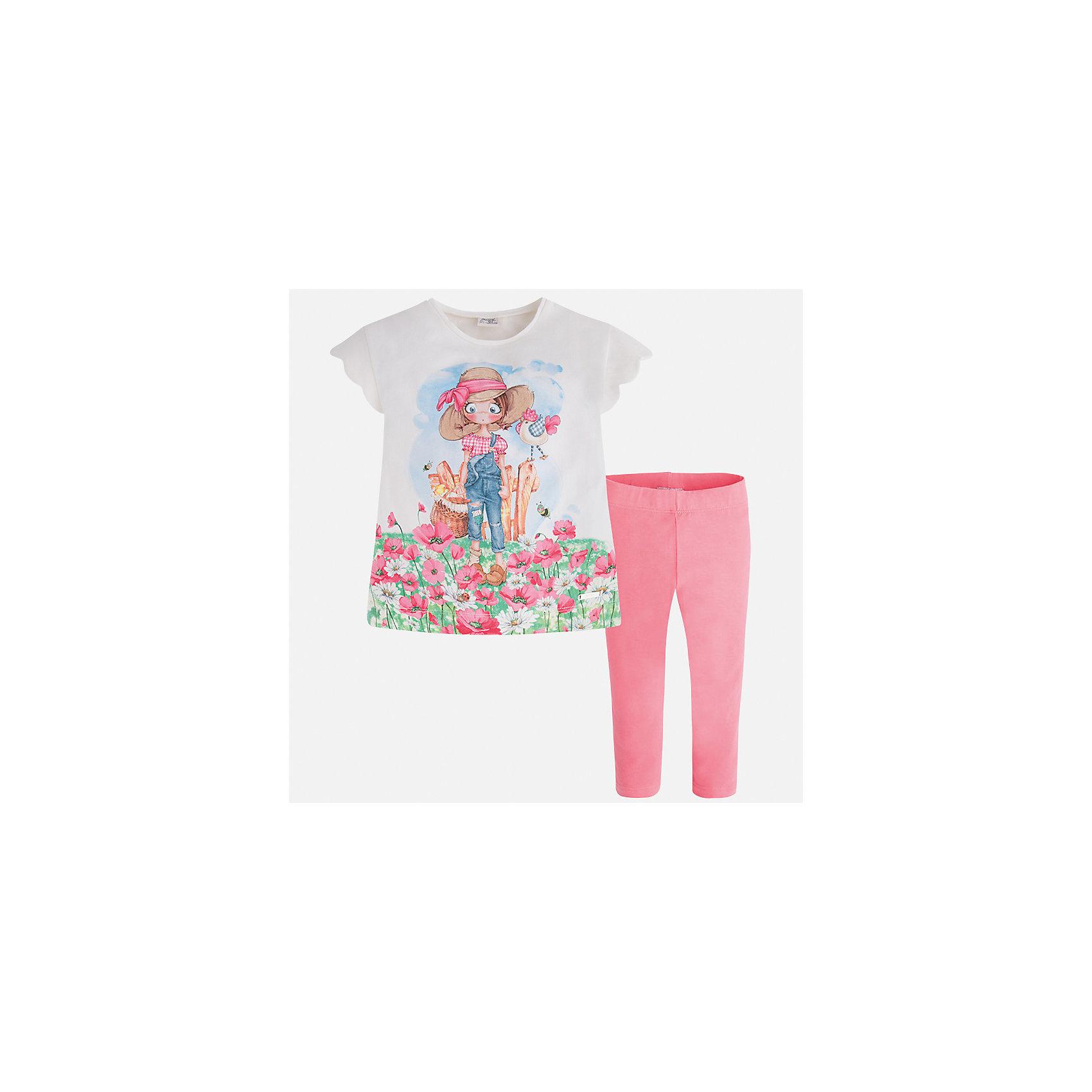 Комплект: футболка и леггинсы для девочки MayoralКомплекты<br>Характеристики товара:<br><br>• цвет: белый/розовый<br>• состав: 92% хлопок, 8% эластан<br>• комплектация: футболка, леггинсы<br>• футболка декорирована принтом <br>• леггинсы однотонные<br>• пояс на резинке<br>• страна бренда: Испания<br><br>Модный качественный комплект для девочки поможет разнообразить гардероб ребенка и удобно одеться в теплую погоду. Он отлично сочетается с другими предметами. Универсальный цвет позволяет подобрать к вещам верхнюю одежду практически любой расцветки. Интересная отделка модели делает её нарядной и оригинальной. В составе материала - натуральный хлопок, гипоаллергенный, приятный на ощупь, дышащий.<br><br>Одежда, обувь и аксессуары от испанского бренда Mayoral полюбились детям и взрослым по всему миру. Модели этой марки - стильные и удобные. Для их производства используются только безопасные, качественные материалы и фурнитура. Порадуйте ребенка модными и красивыми вещами от Mayoral! <br><br>Комплект для девочки от испанского бренда Mayoral (Майорал) можно купить в нашем интернет-магазине.<br><br>Ширина мм: 123<br>Глубина мм: 10<br>Высота мм: 149<br>Вес г: 209<br>Цвет: розовый<br>Возраст от месяцев: 18<br>Возраст до месяцев: 24<br>Пол: Женский<br>Возраст: Детский<br>Размер: 92,128,134,98,104,122,110,116<br>SKU: 5290595